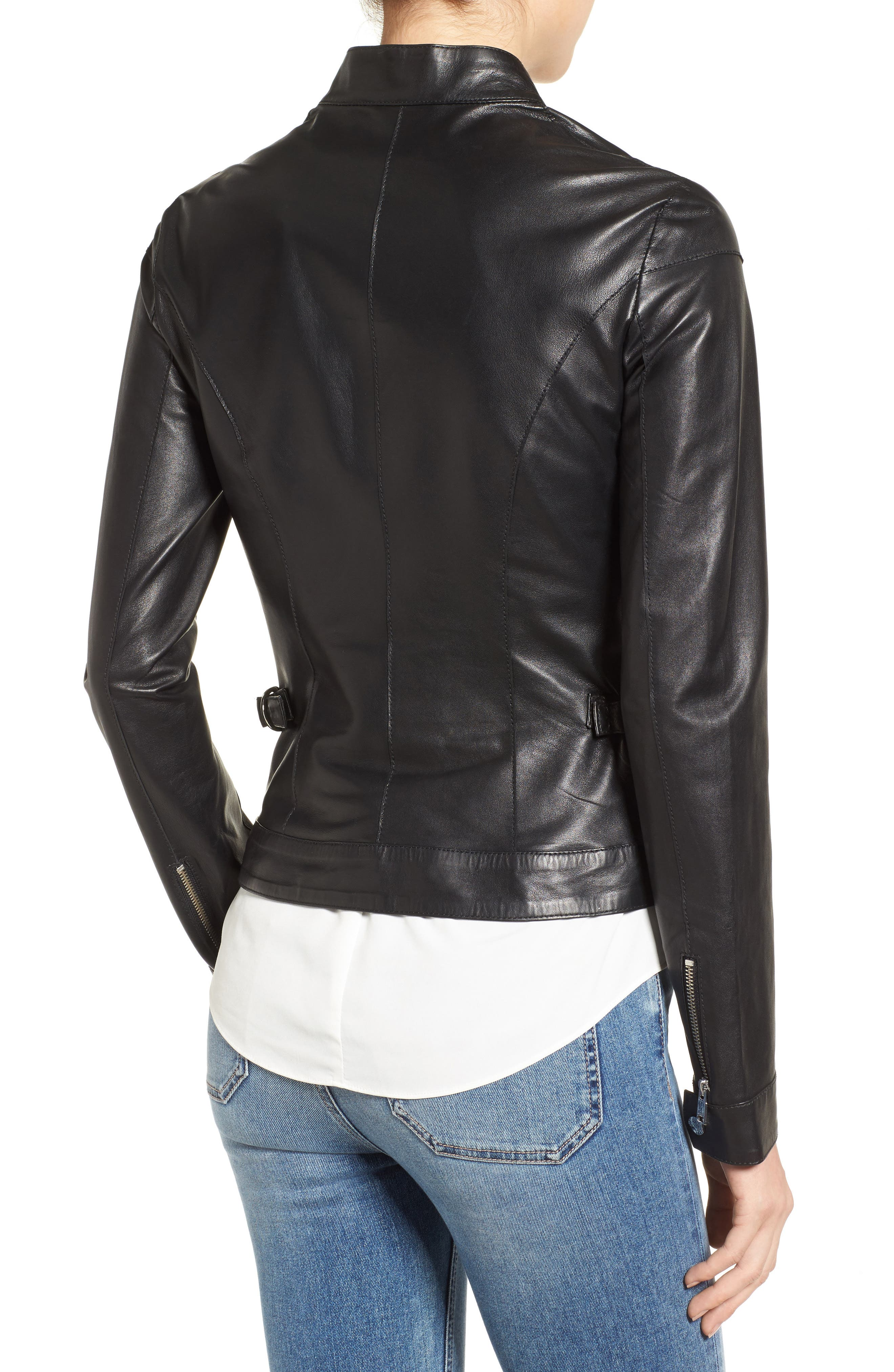 Alternate Image 2  - LAMARQUE Lambskin Leather Biker Jacket