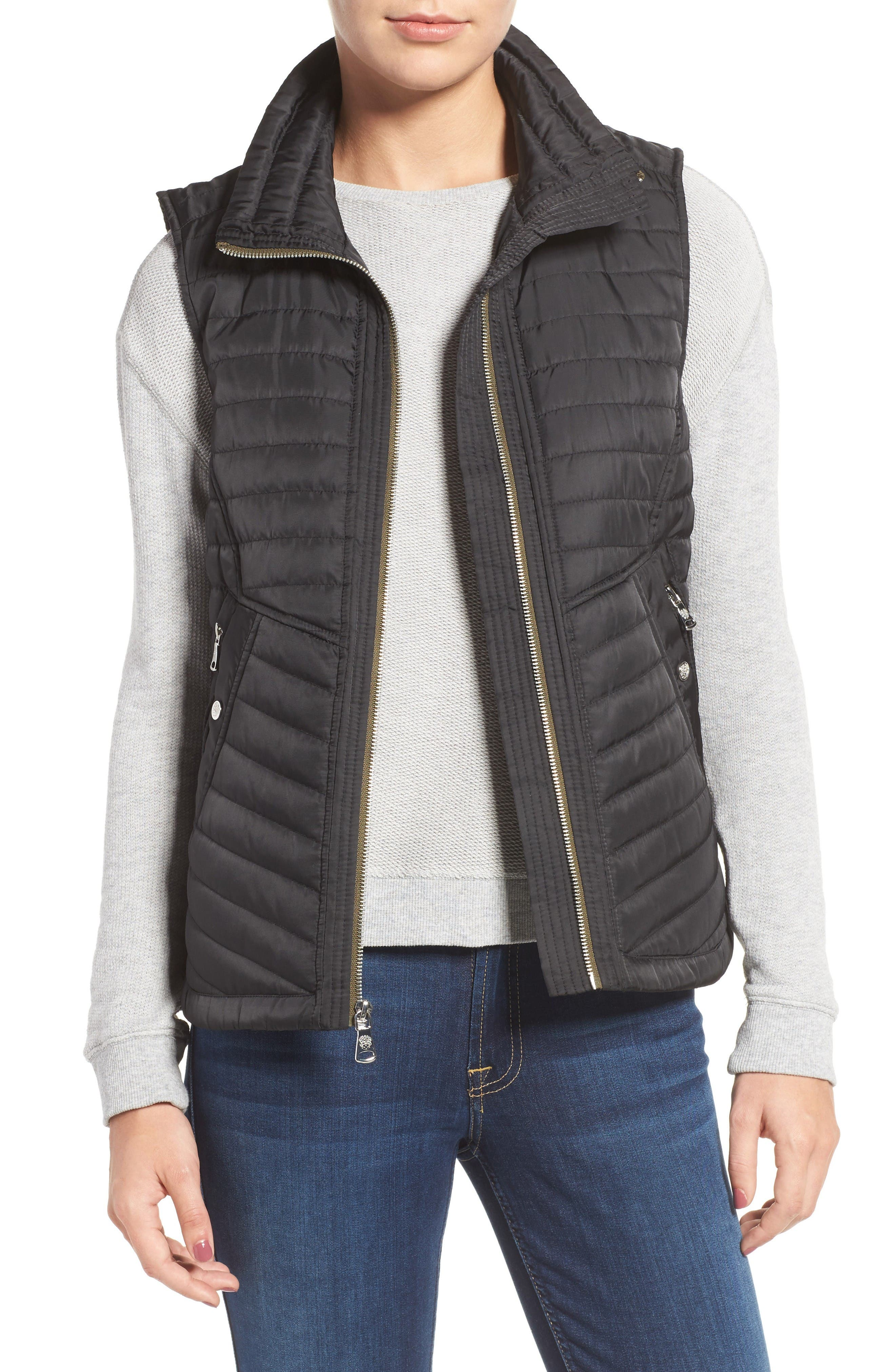 Vince Camuto Contrast Trim Quilted Vest