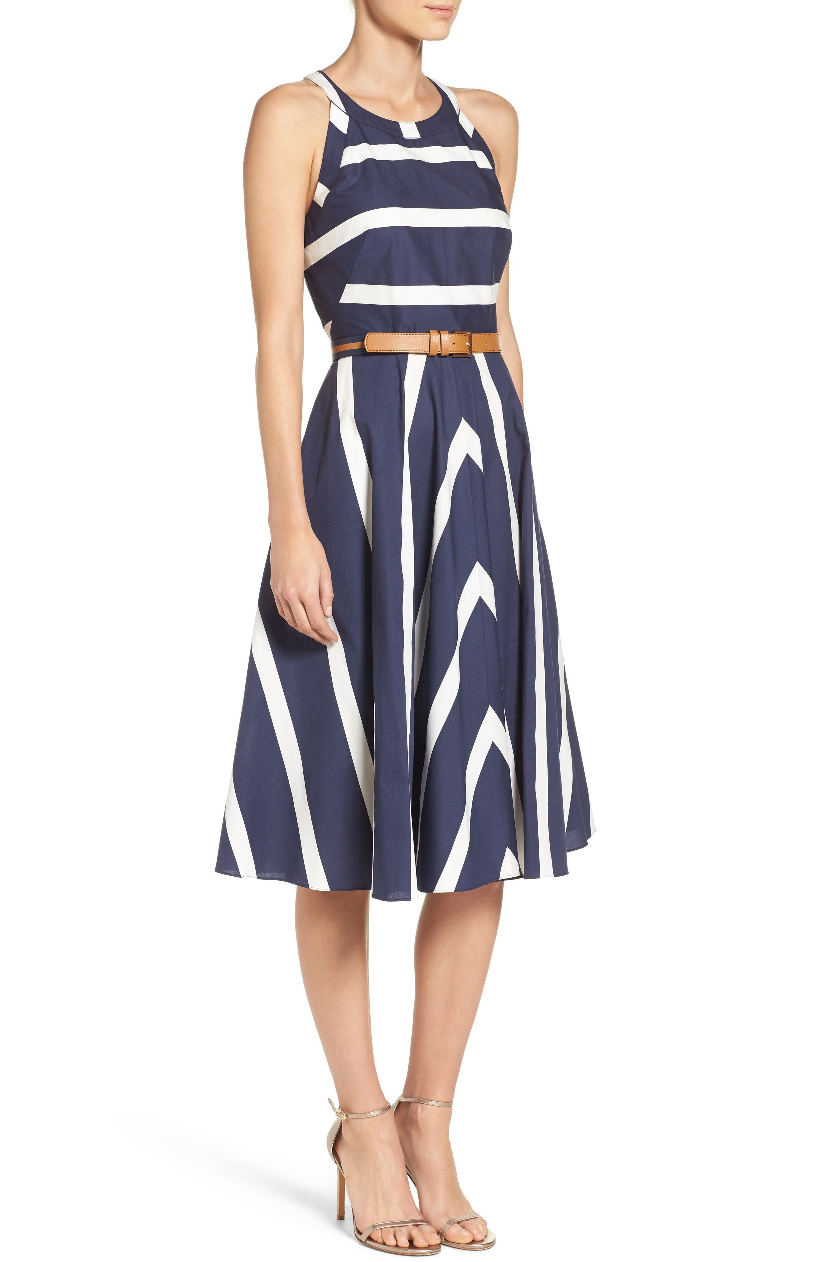 Alternate Image 3  - Eliza J Stripe Fit & Flare Dress (Regular & Petite)