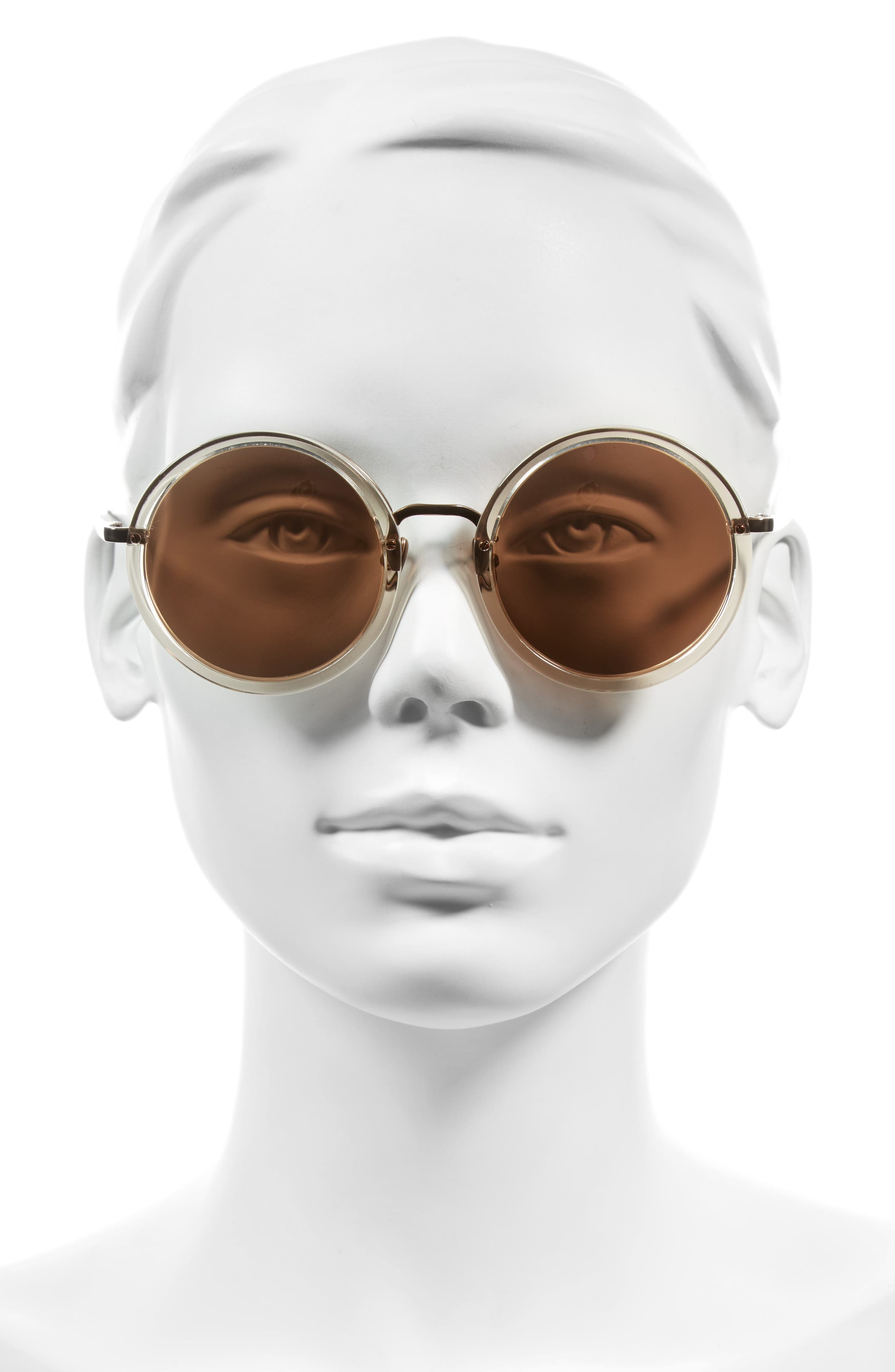 51mm Round Sunglasses,                             Alternate thumbnail 2, color,                             Ash/ Rose Gold