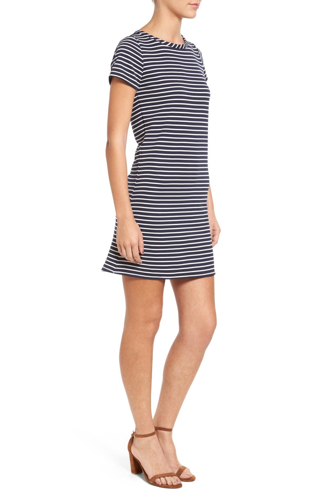 Alternate Image 3  - Loveappella Stripe Ottoman Shift Dress (Petite)