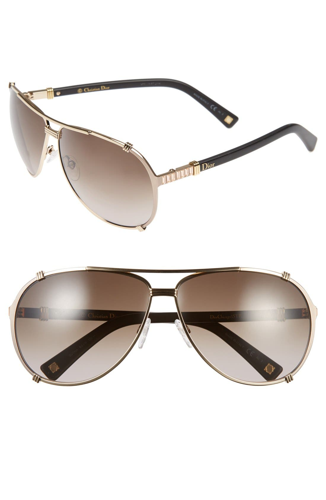 Main Image - Dior 'Chicago 2 Strass' 63mm Aviator Sunglasses
