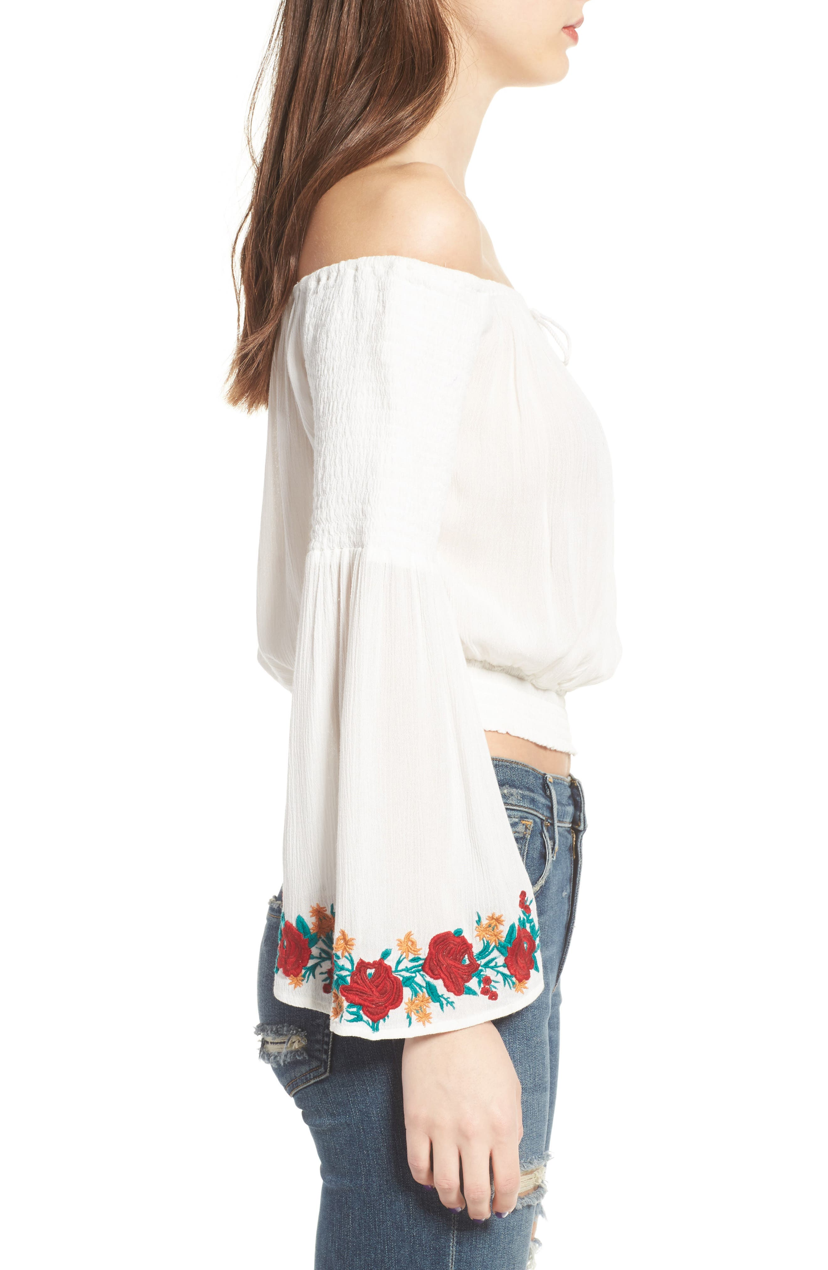 Alternate Image 4  - Band of Gypsies Embroidered Off-the-Shoulder Crop Top