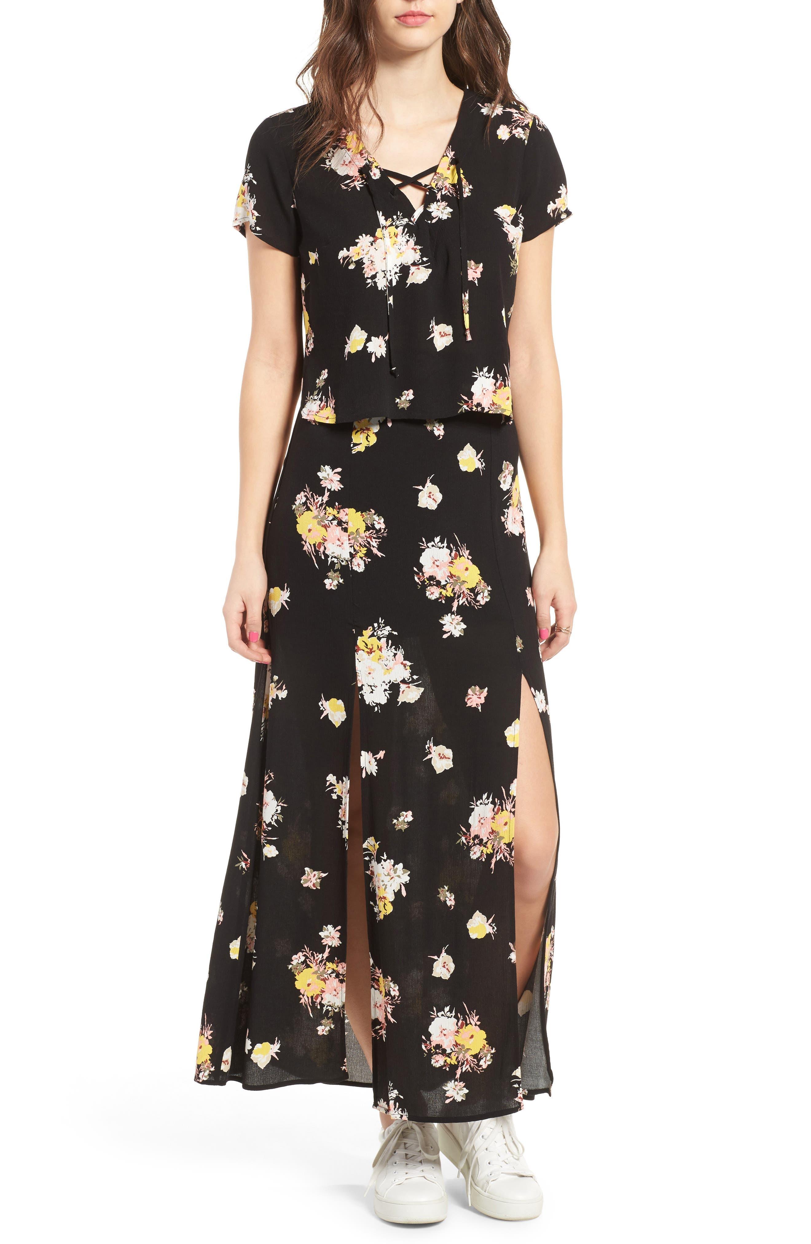 Coordinating Lace-Up Crop Top,                             Alternate thumbnail 2, color,                             Black Blush Floral