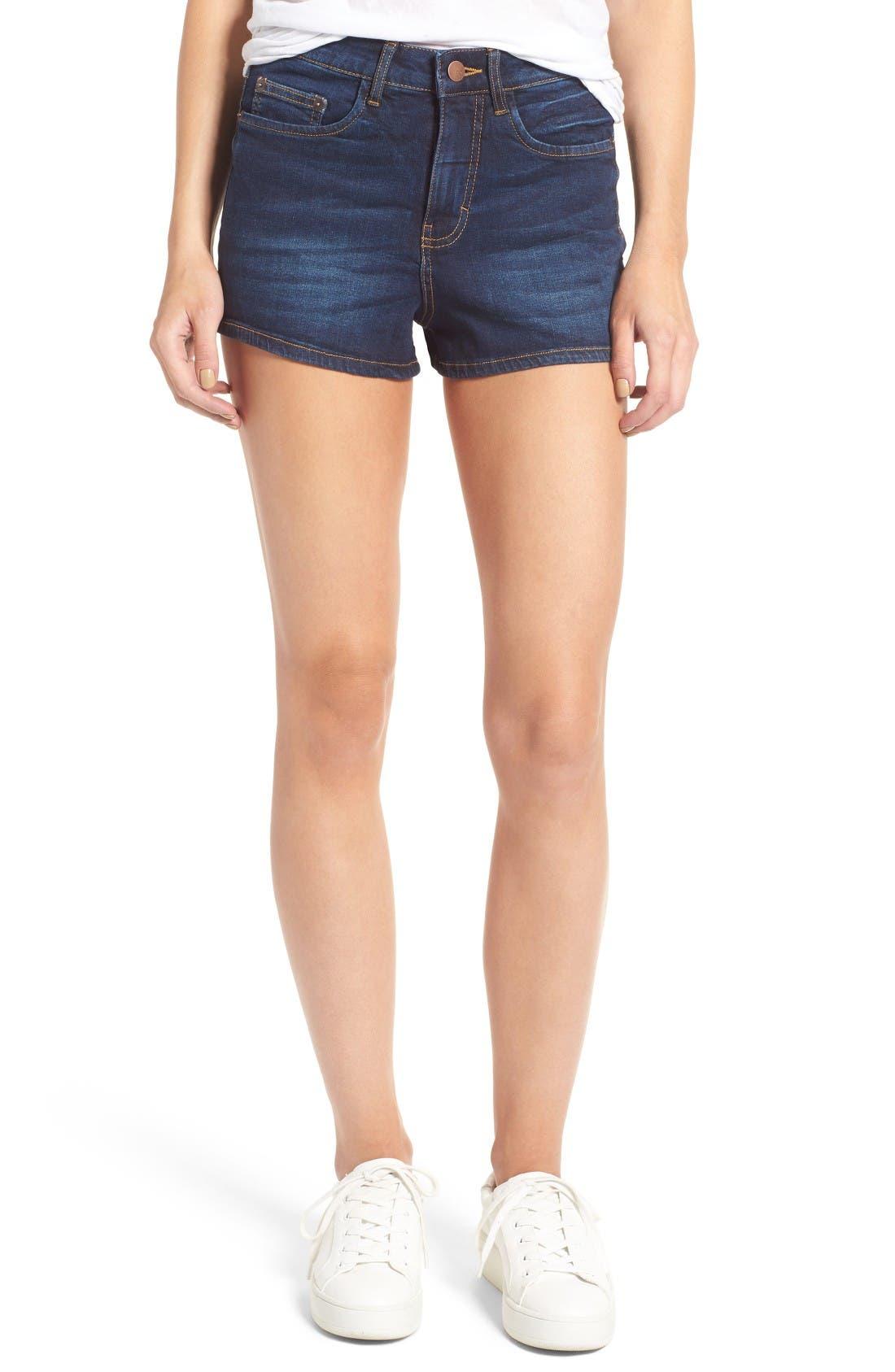 Main Image - BP. High Rise Denim Shorts (Deep Sea Blue)