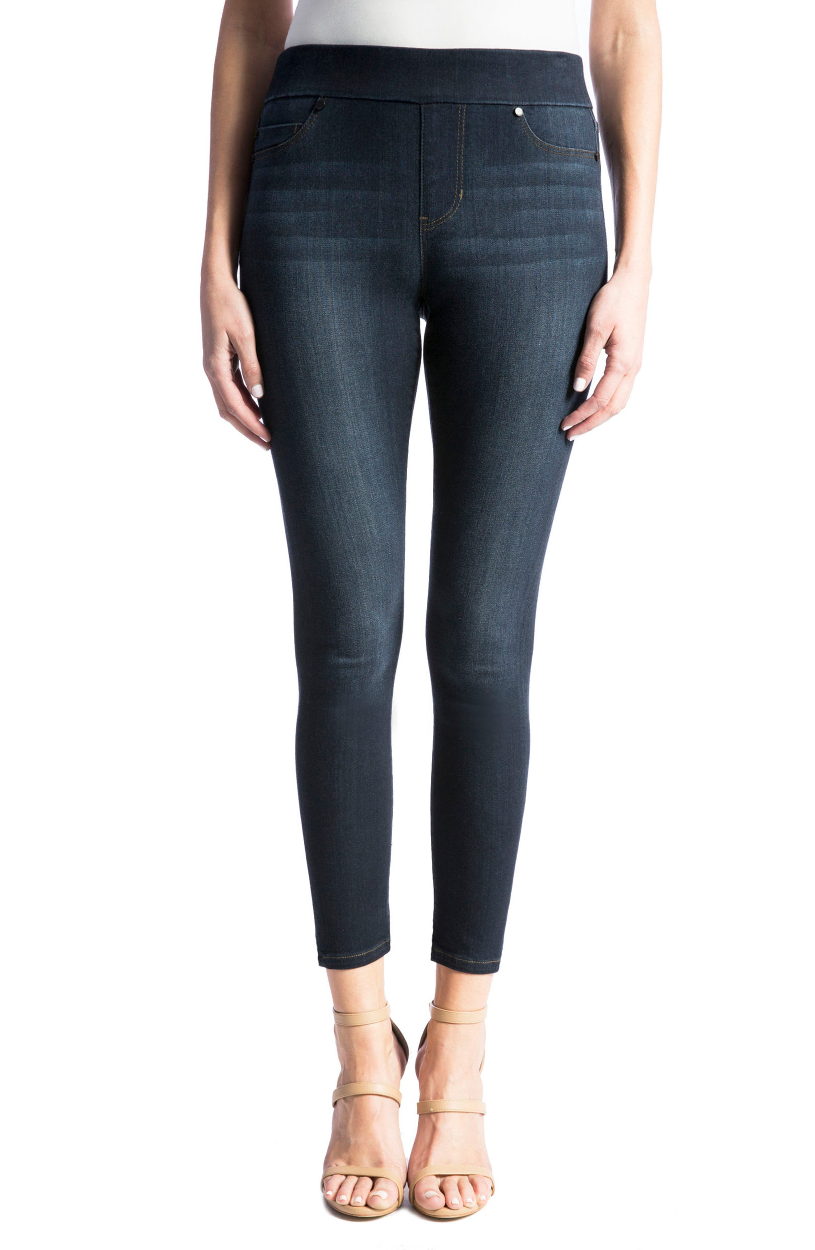 High Rise Stretch Denim Ankle Leggings,                             Main thumbnail 1, color,                             Dynasty Dark