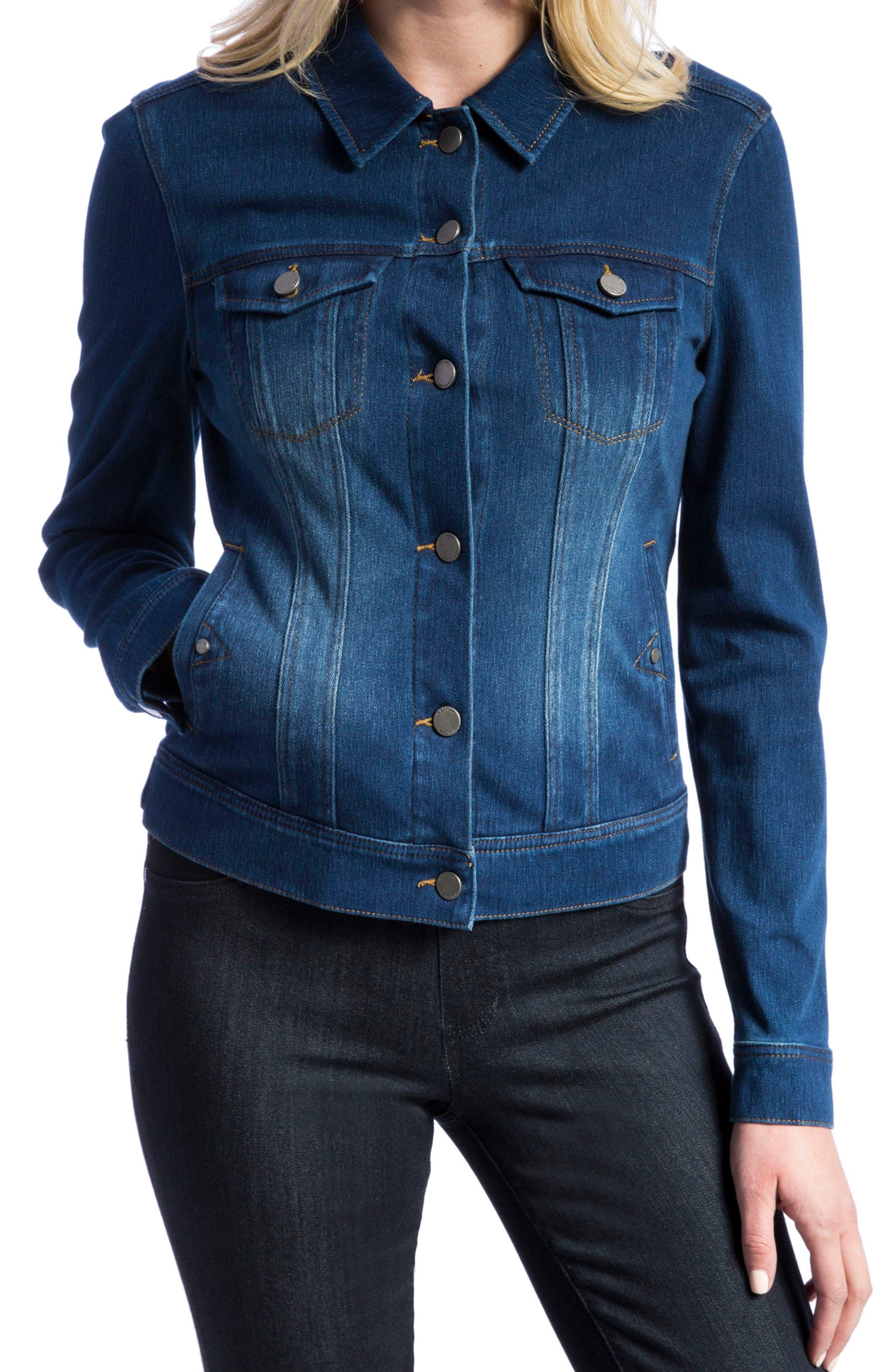Knit Denim Jacket,                         Main,                         color, Admiral Blue