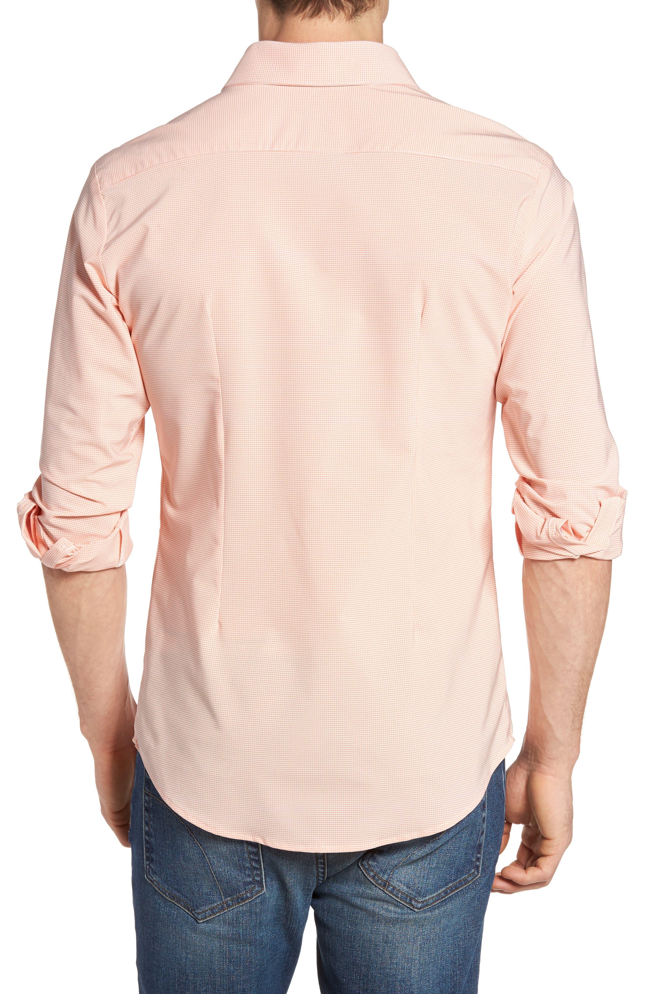 Charles Microcheck Performance Sport Shirt,                             Alternate thumbnail 2, color,                             Peach