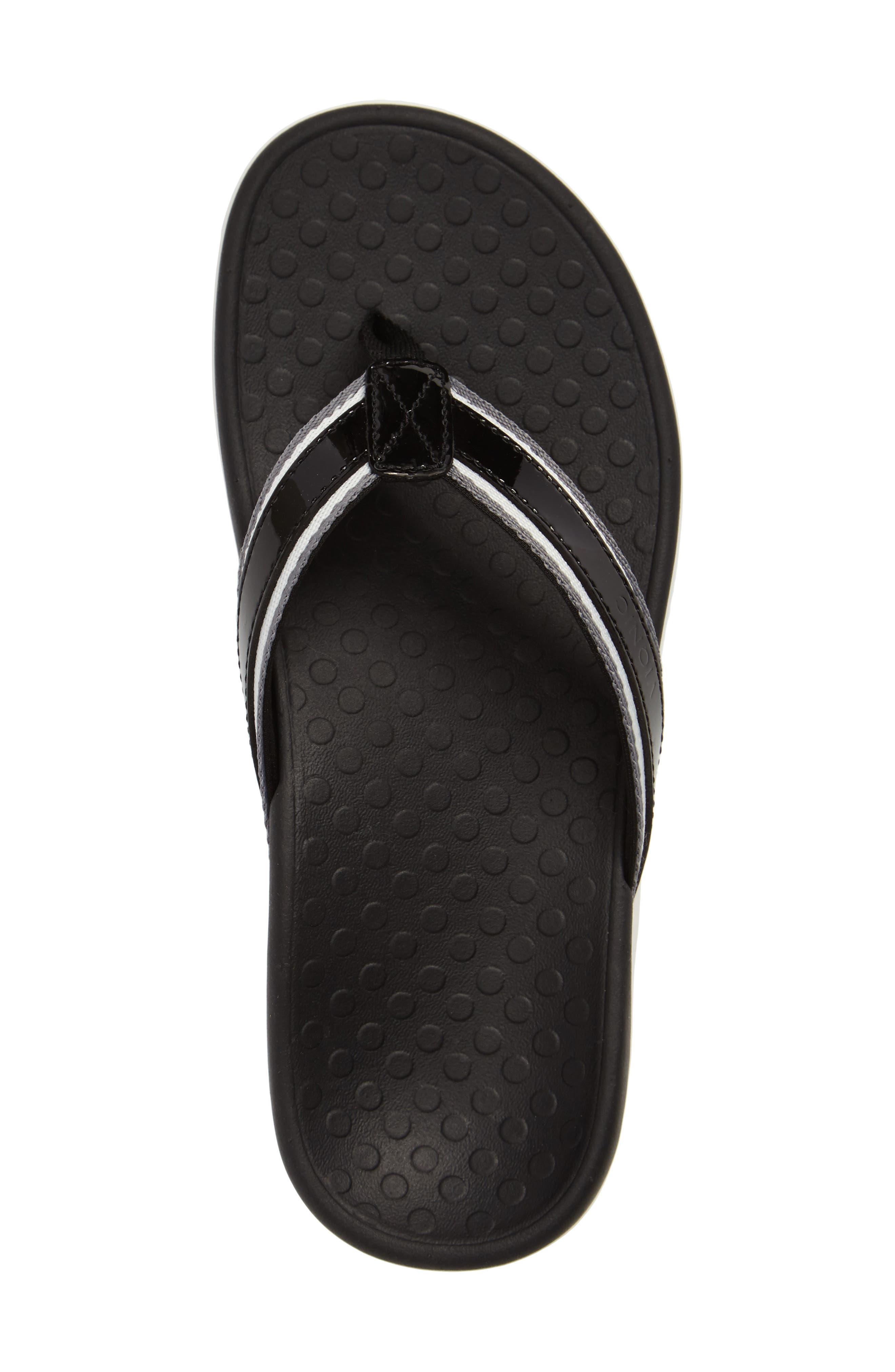 Tide Sport Flip Flop,                             Alternate thumbnail 3, color,                             Black Leather