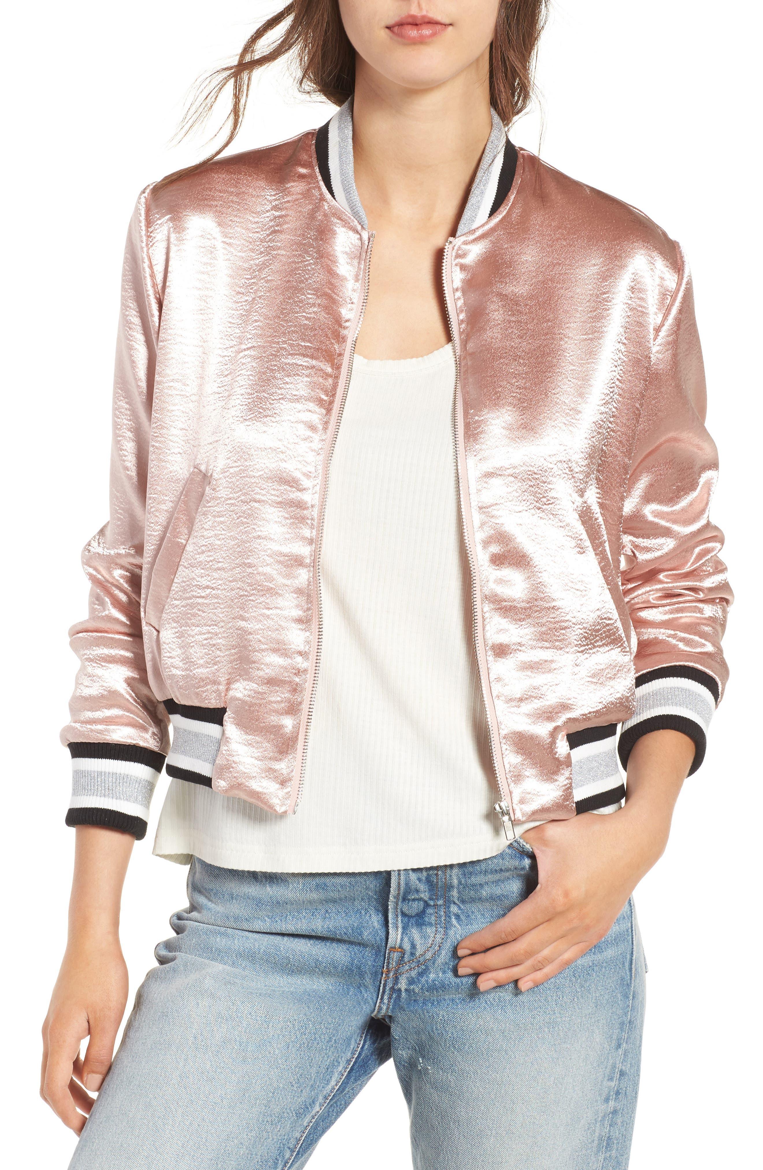 Satin Varsity Jacket,                             Main thumbnail 1, color,                             Blush