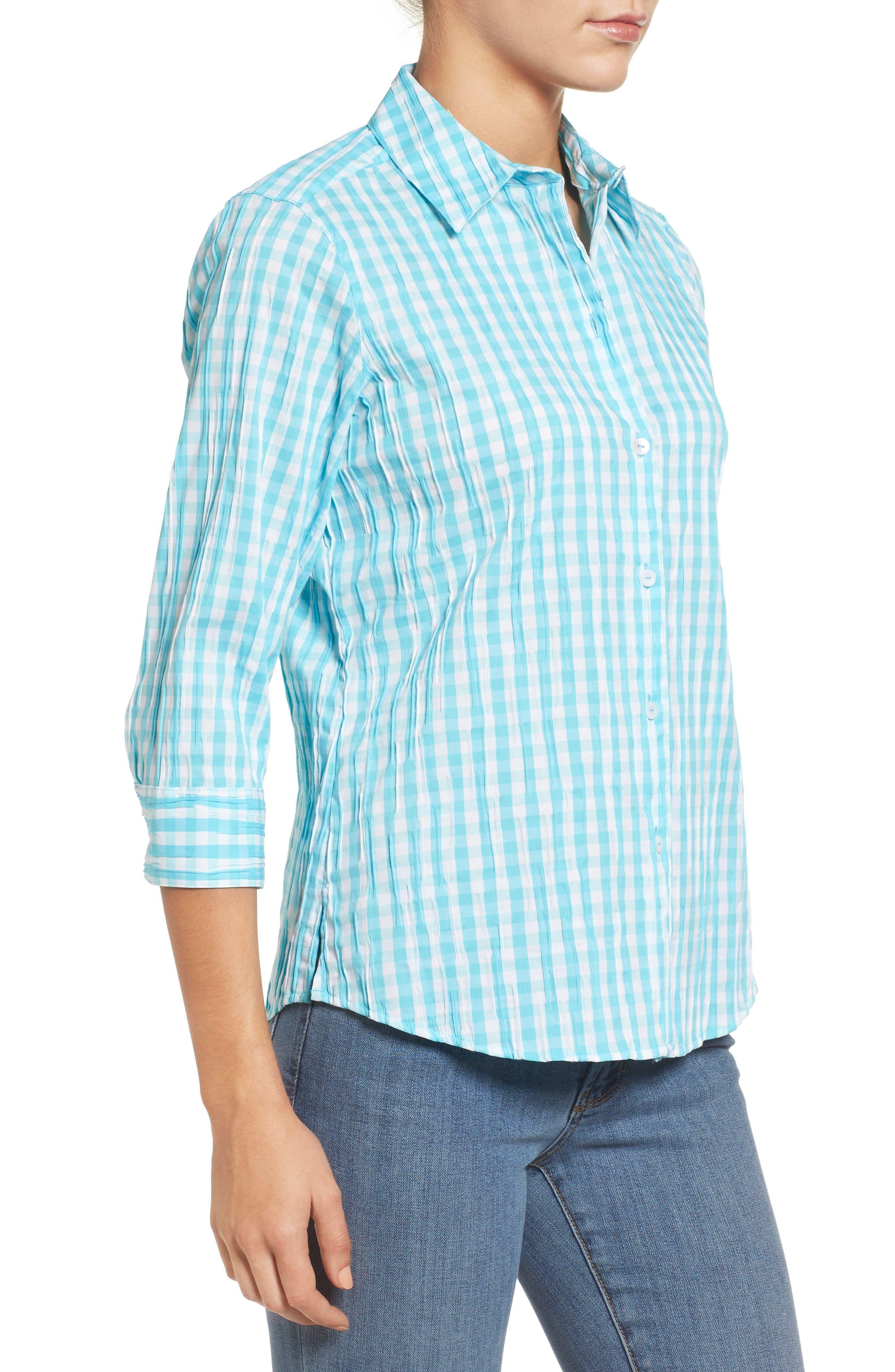 Alternate Image 3  - Foxcroft Crinkled Gingham Shirt (Regular & Petite)