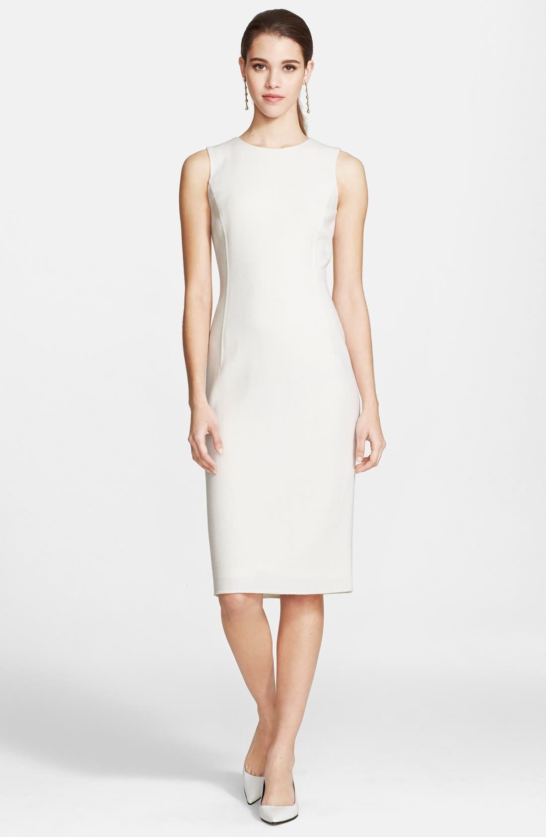 Main Image - Oscar de la Renta Wool Crepe Pencil Dress
