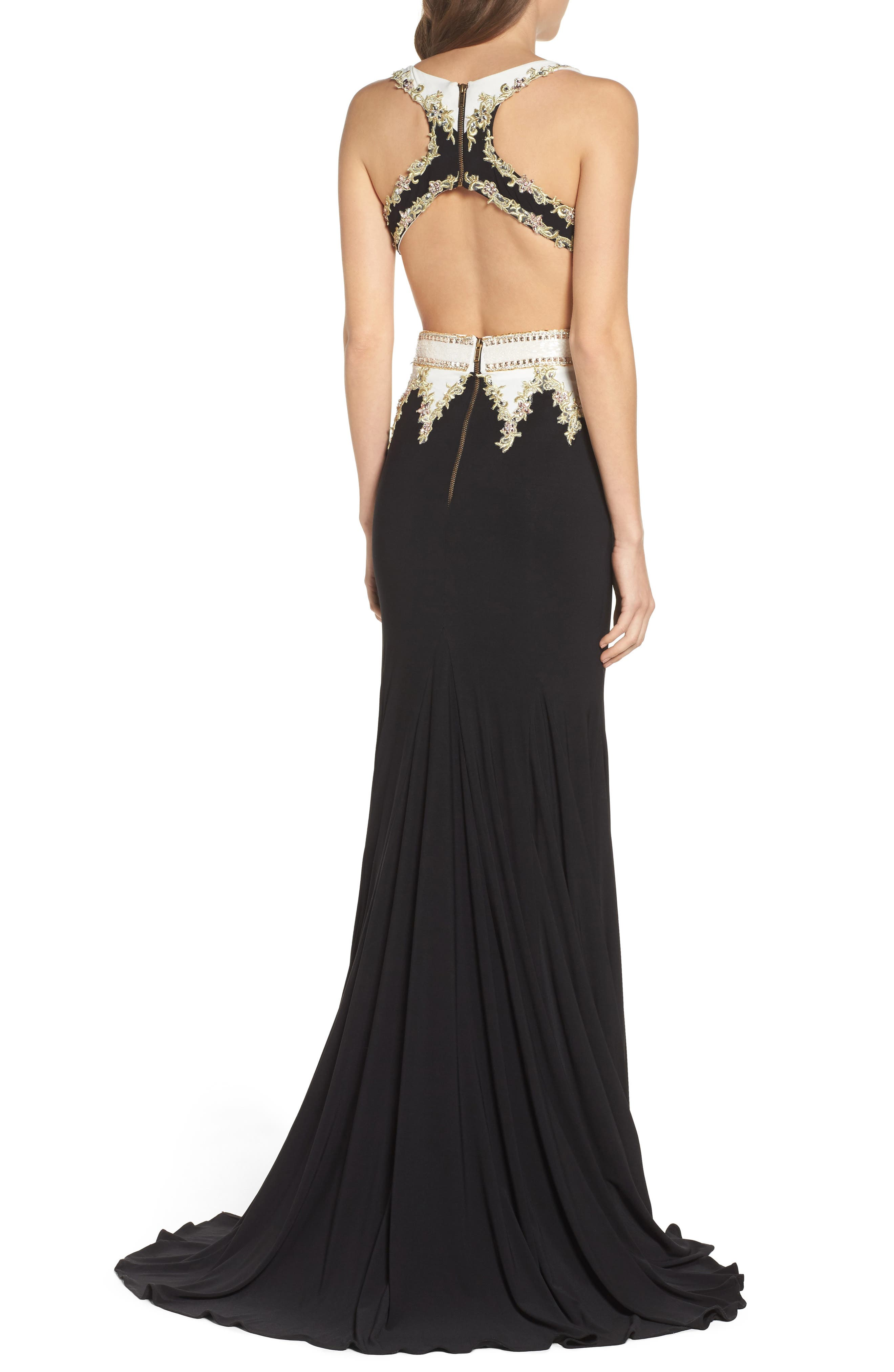 Embellished Cutout Jersey Gown,                             Alternate thumbnail 2, color,                             Black/ White