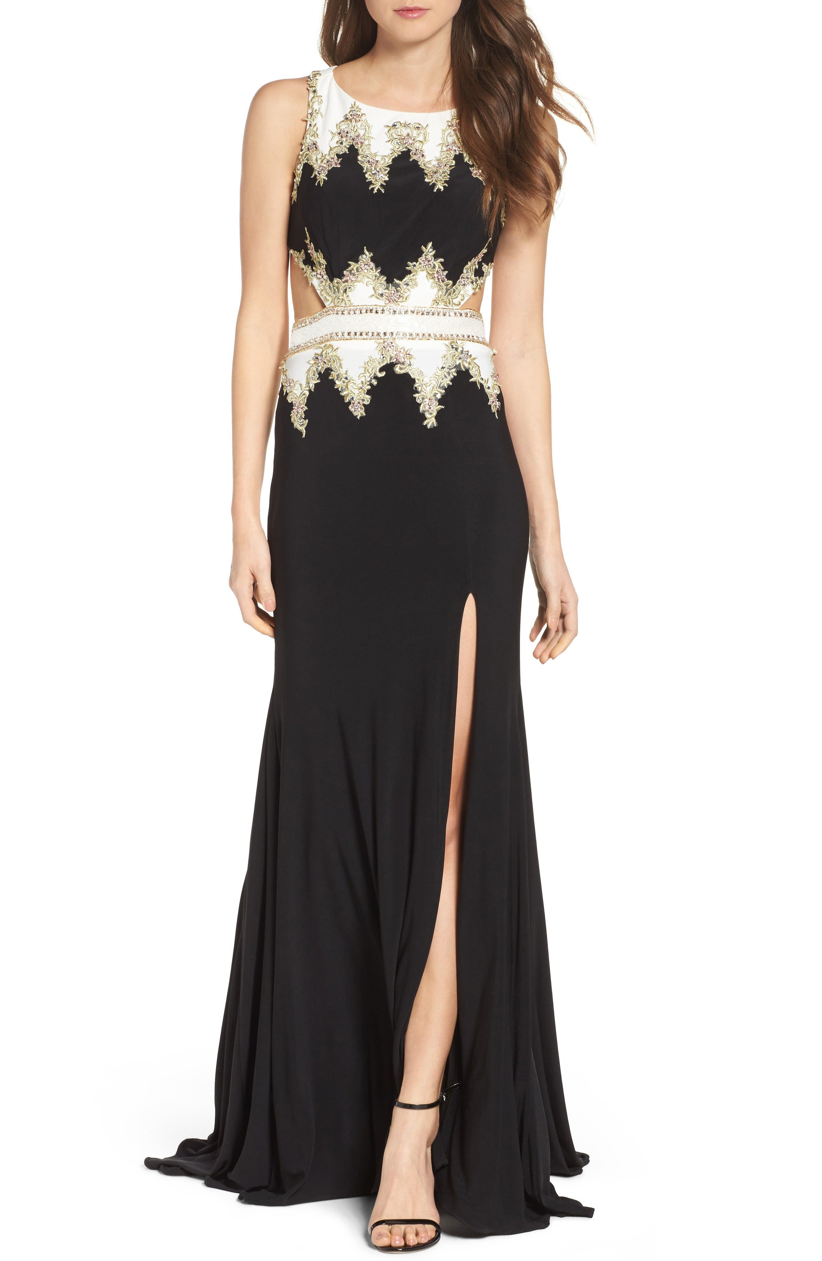 Embellished Cutout Jersey Gown,                         Main,                         color, Black/ White