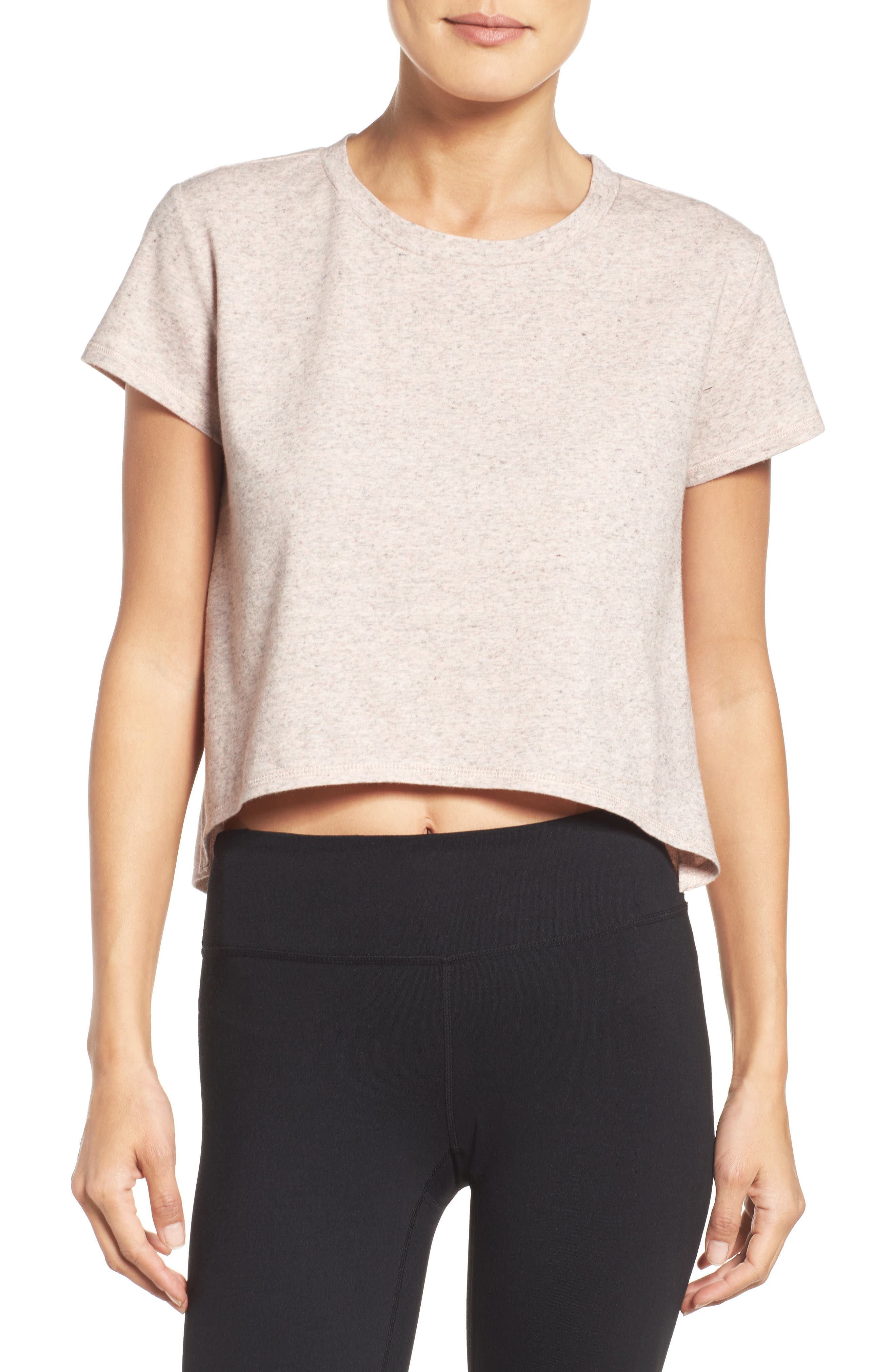 Devin Crop Tee,                             Main thumbnail 1, color,                             Coral Sunlight Heather