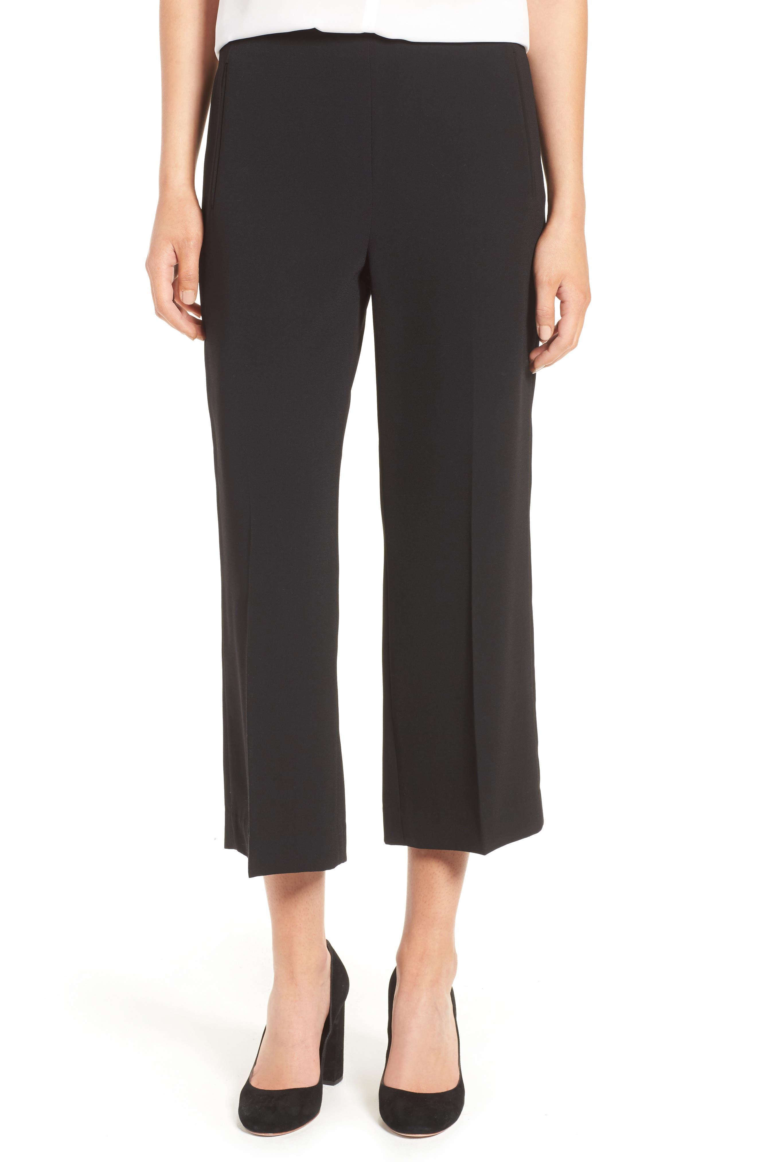 Moss Crepe Crop Trousers,                             Main thumbnail 1, color,                             Black