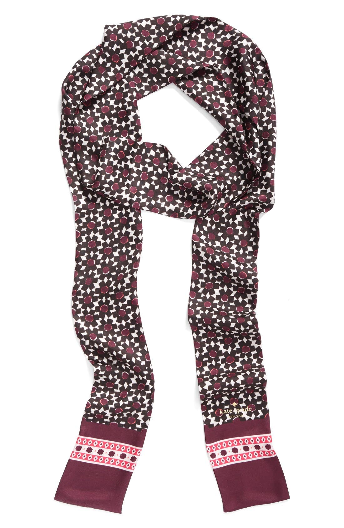 Main Image - kate spade new york floral tile silk skinny scarf