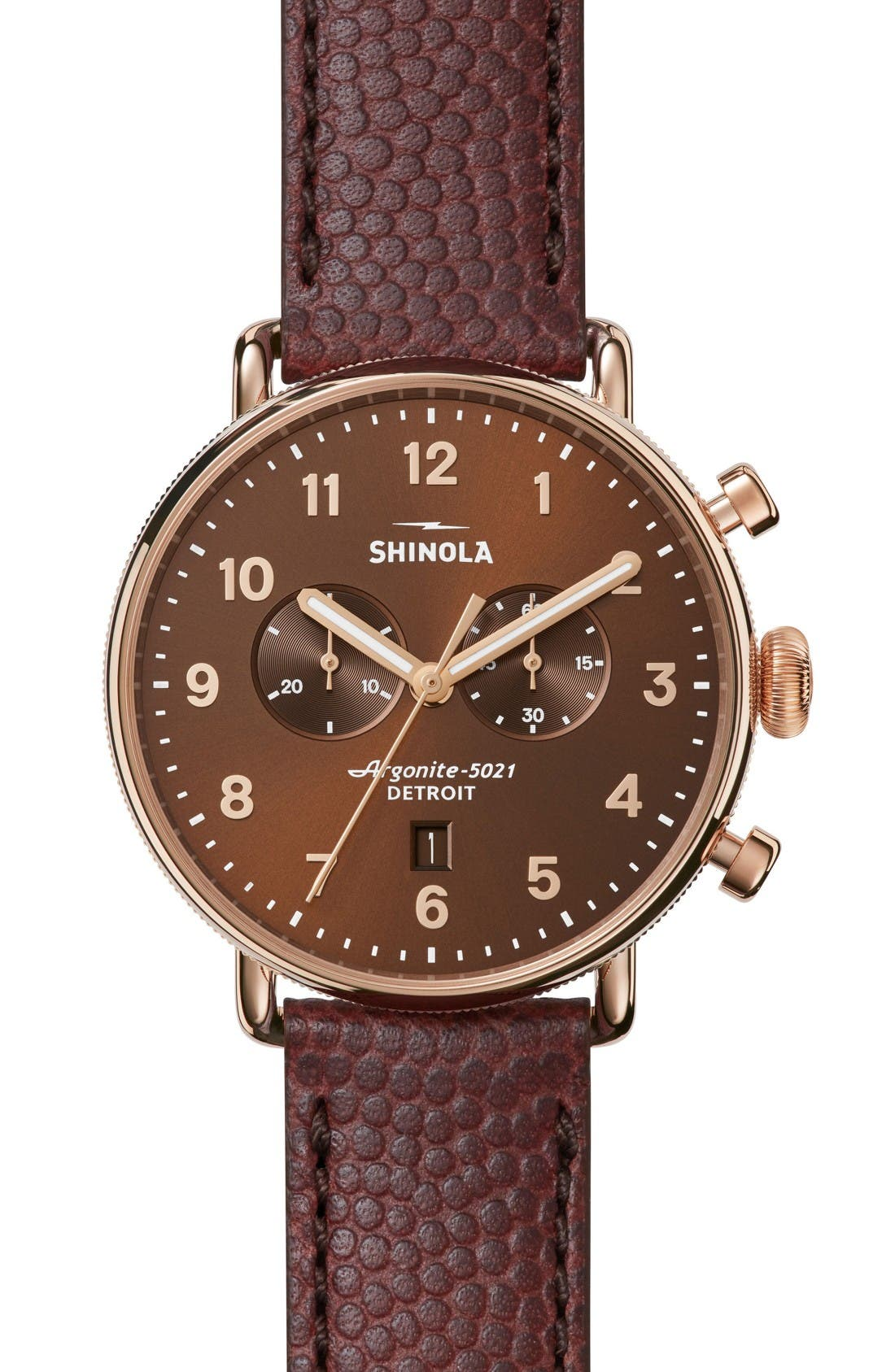 The Canfield Chrono Leather Strap Watch, 43mm,                         Main,                         color, Oxblood/ Bourbon Sunray
