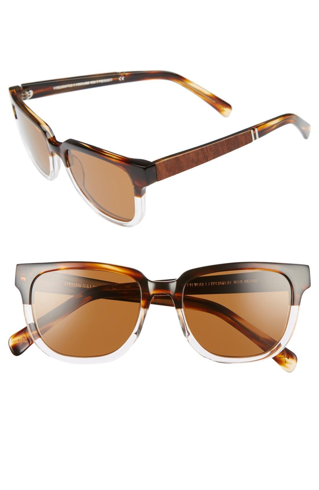 SHWOOD Prescott 52mm Polarized Acetate & Wood Sunglasses