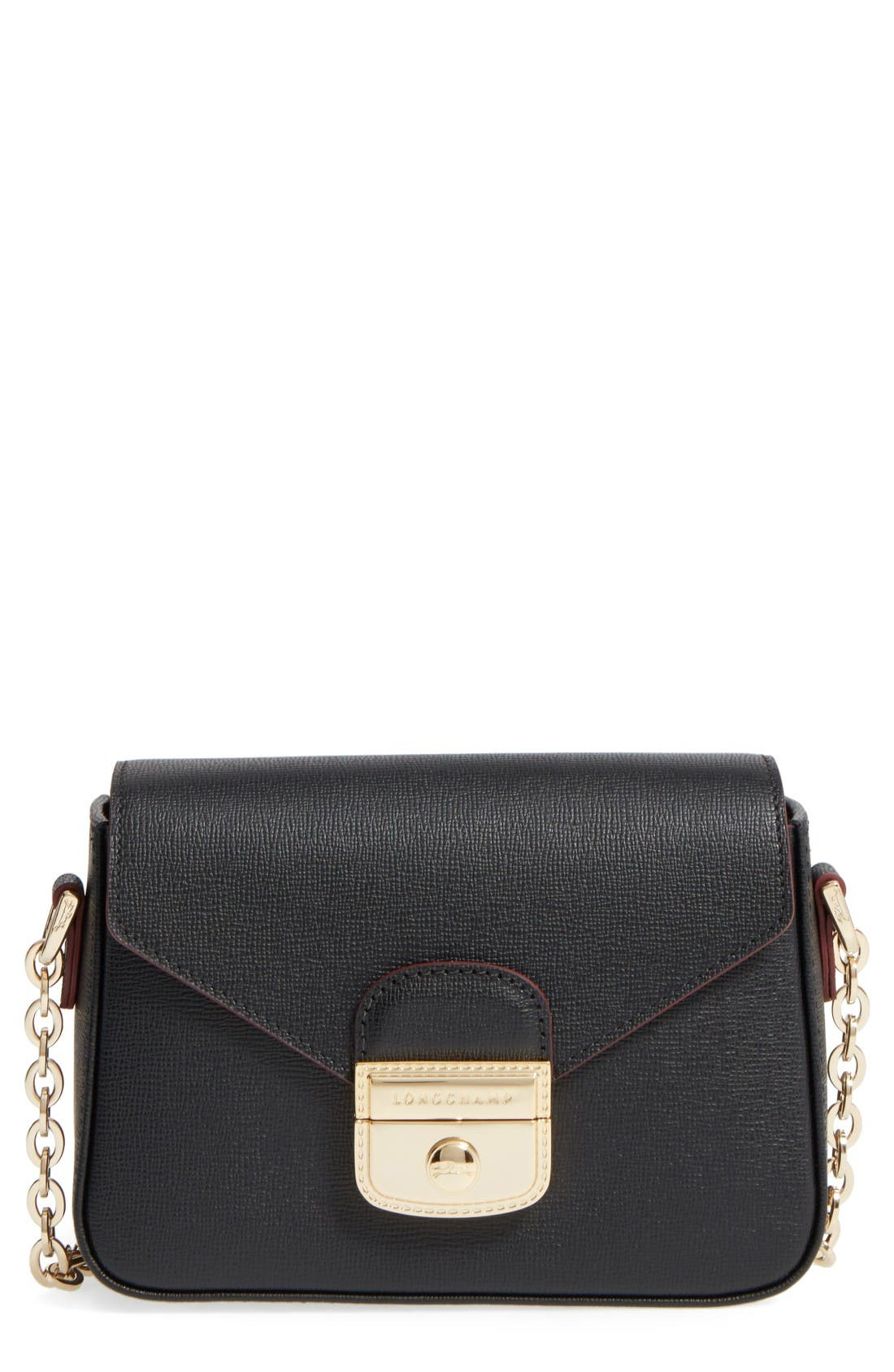 Small Le Pliage Heritage Leather Extra Small Crossbody Bag,                             Main thumbnail 1, color,                             Black