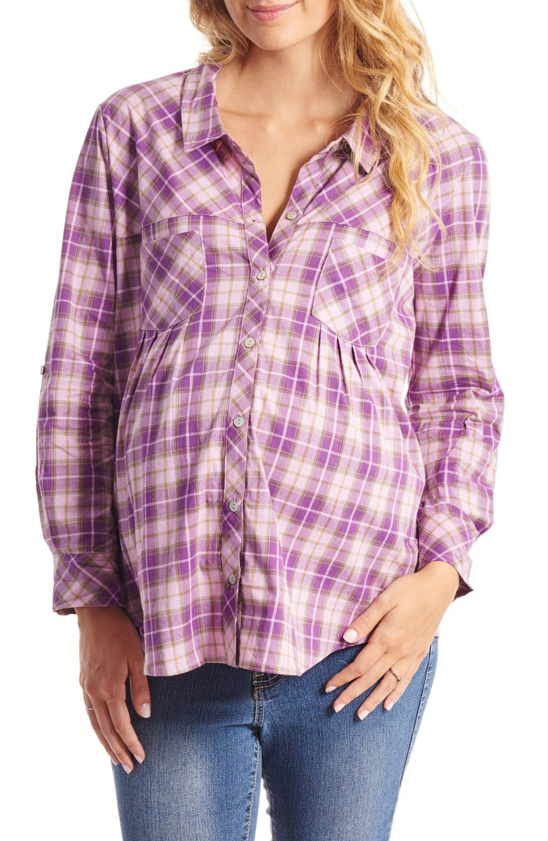 'Batina' Maternity Shirt,                         Main,                         color, Lilac Plaid