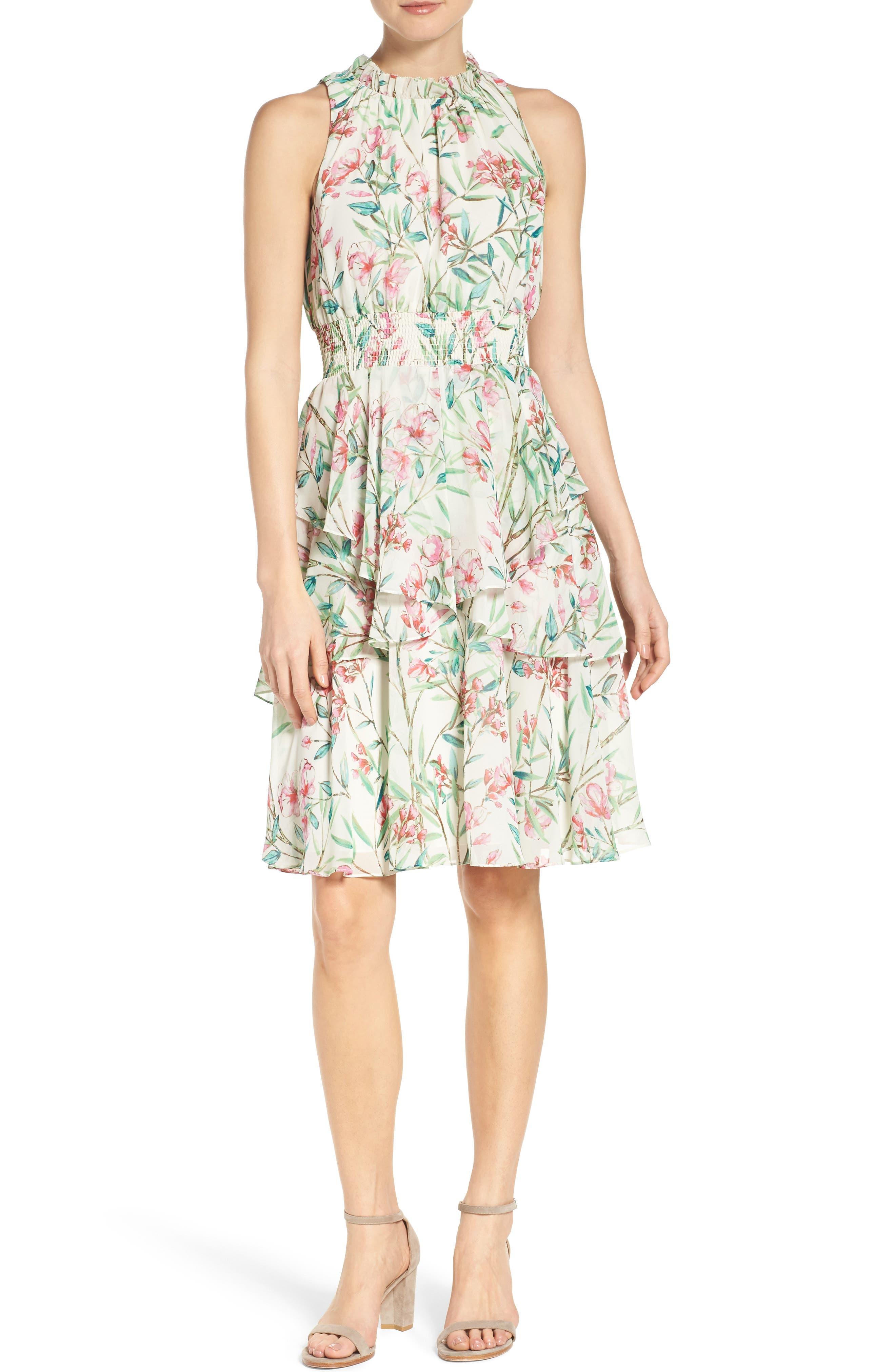 Chiffon Fit & Flare Dress,                             Alternate thumbnail 4, color,                             Ivory/ Pink/ Green