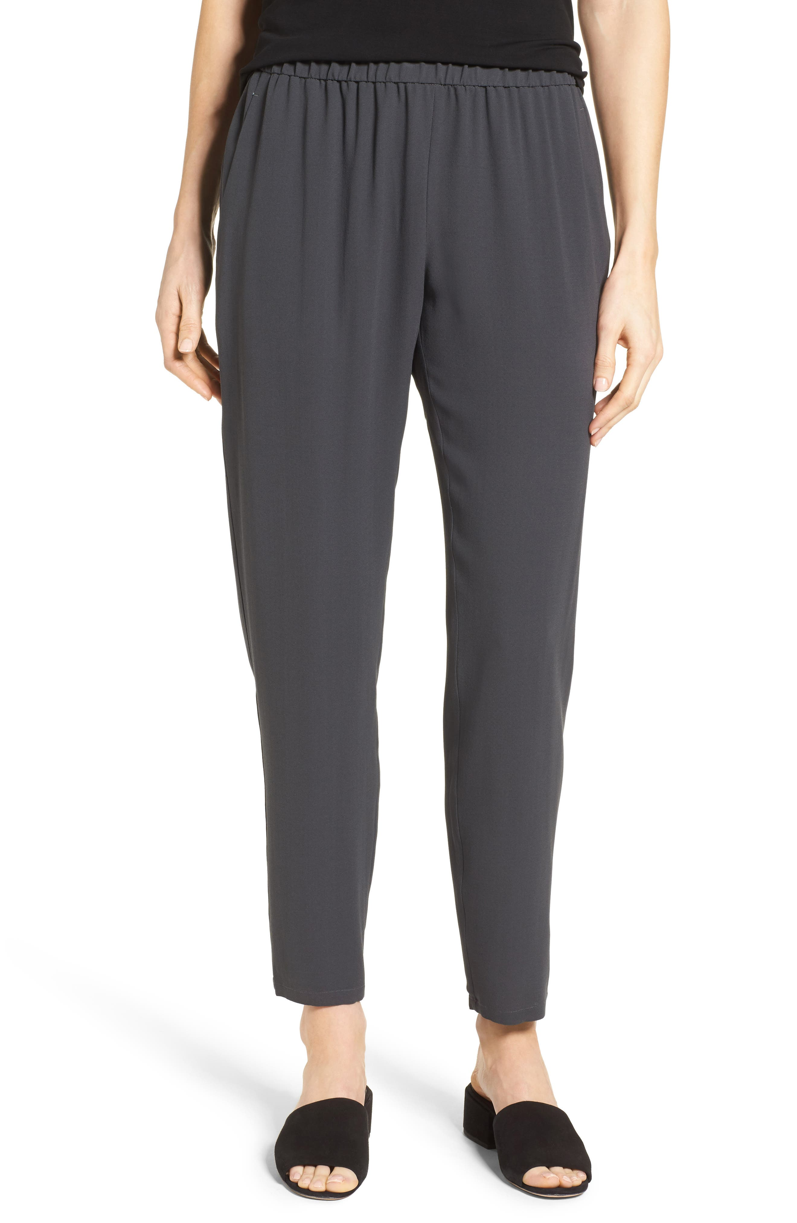 Slouchy Silk Crepe Ankle Pants,                         Main,                         color, Graphite