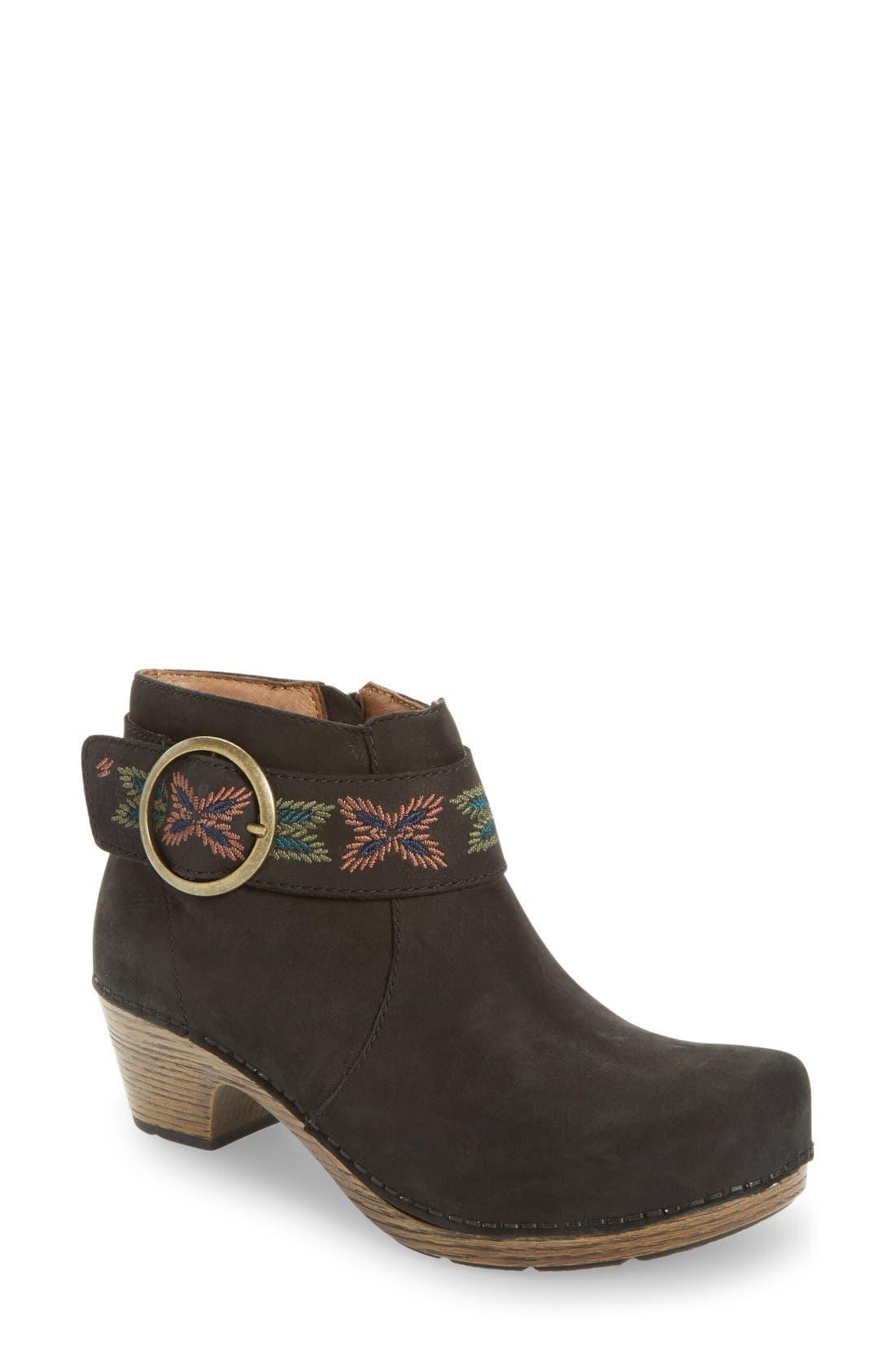 Mina Bootie,                         Main,                         color, Black Nubuck Leather