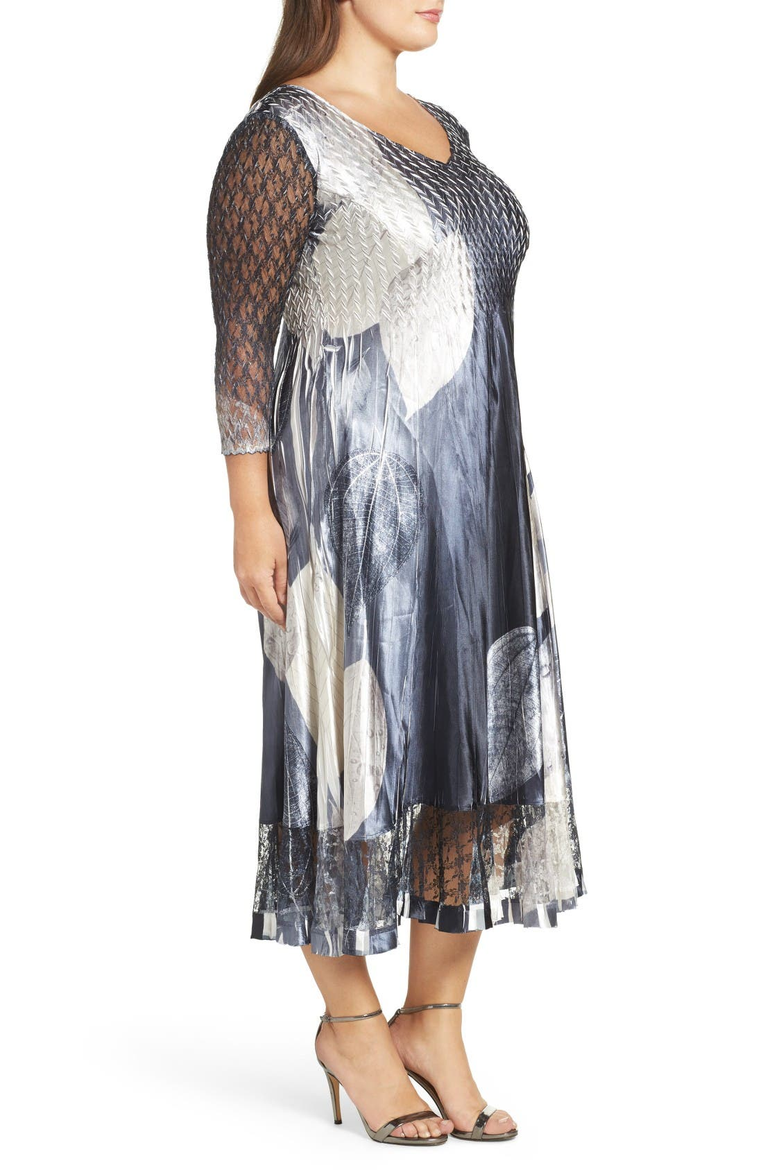 Alternate Image 3  - Komarov Mixed Media Midi Dress (Plus Size)