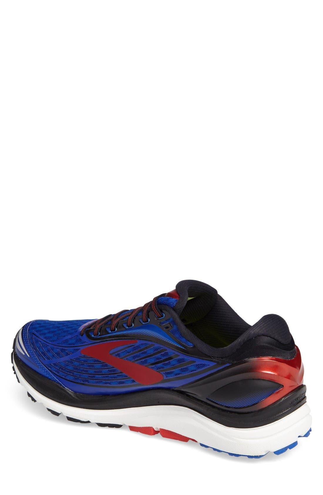 Transcend 4 Running Shoe,                             Alternate thumbnail 2, color,                             Blue/ Black/ Red