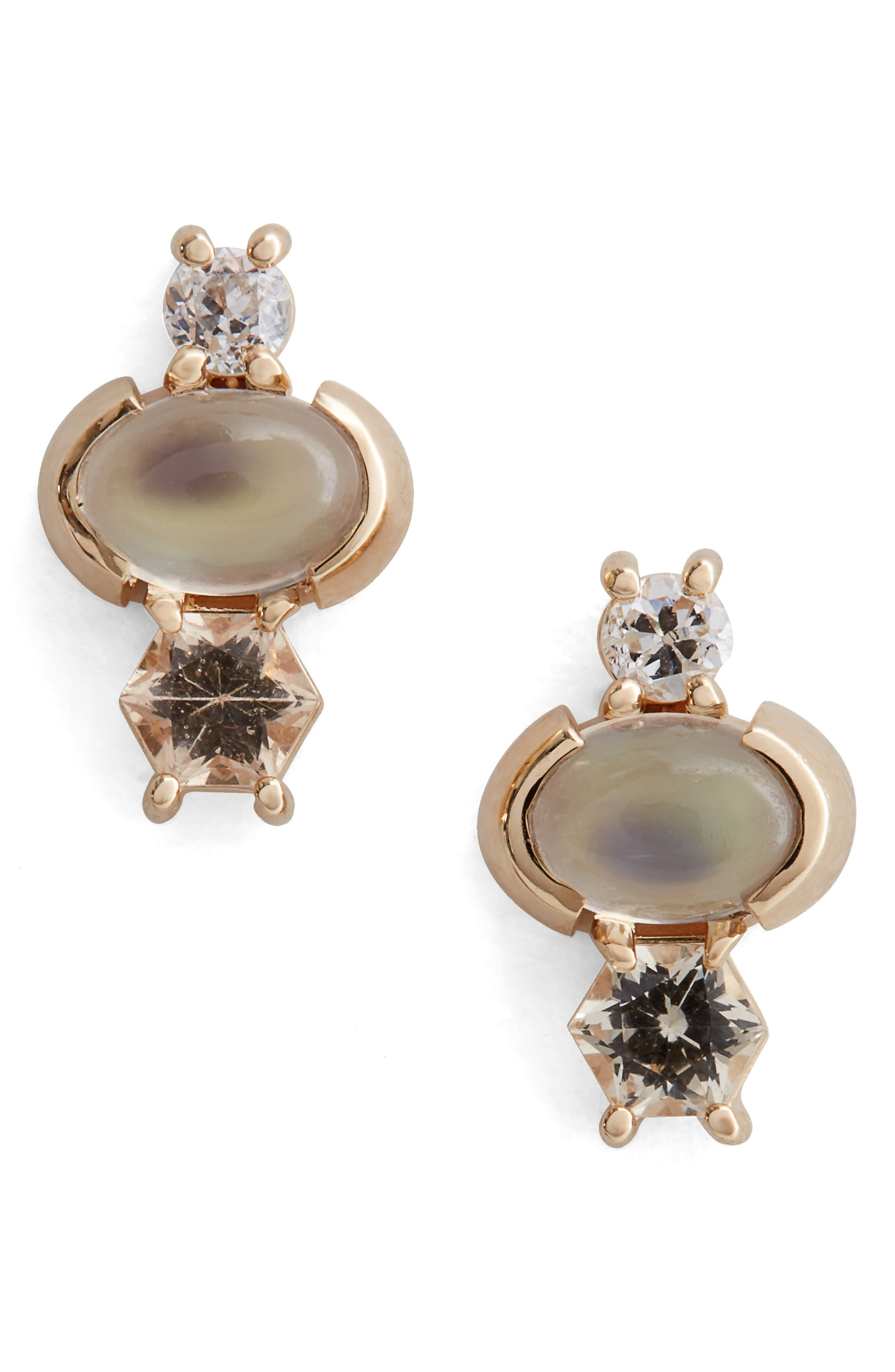 Moonstone, Sapphire & Diamond Earrings,                         Main,                         color, Yellow White