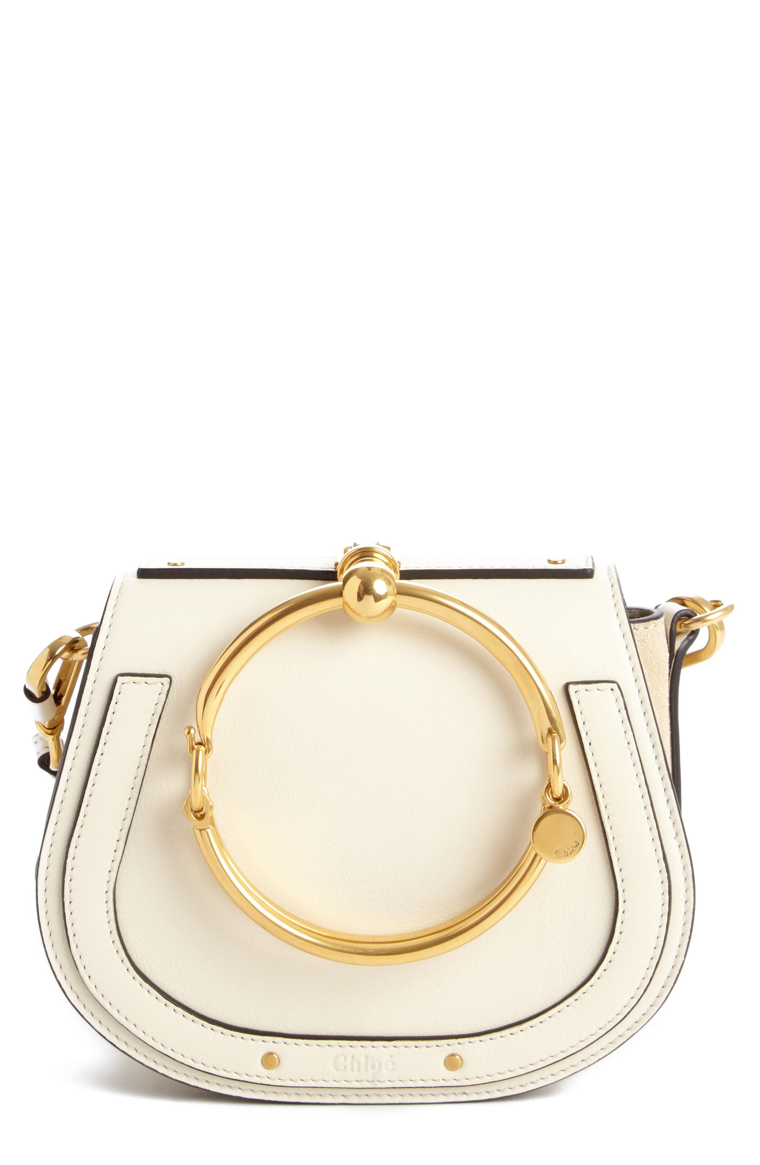 Small Nile Bracelet Leather Crossbody Bag,                         Main,                         color, Off White