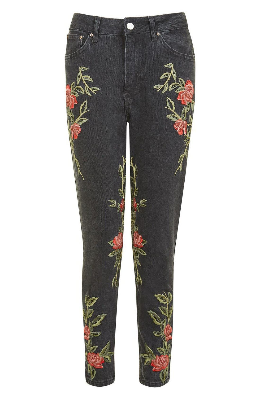 Mom Rose Embroidered Jeans,                             Alternate thumbnail 4, color,                             Washed Black Multi