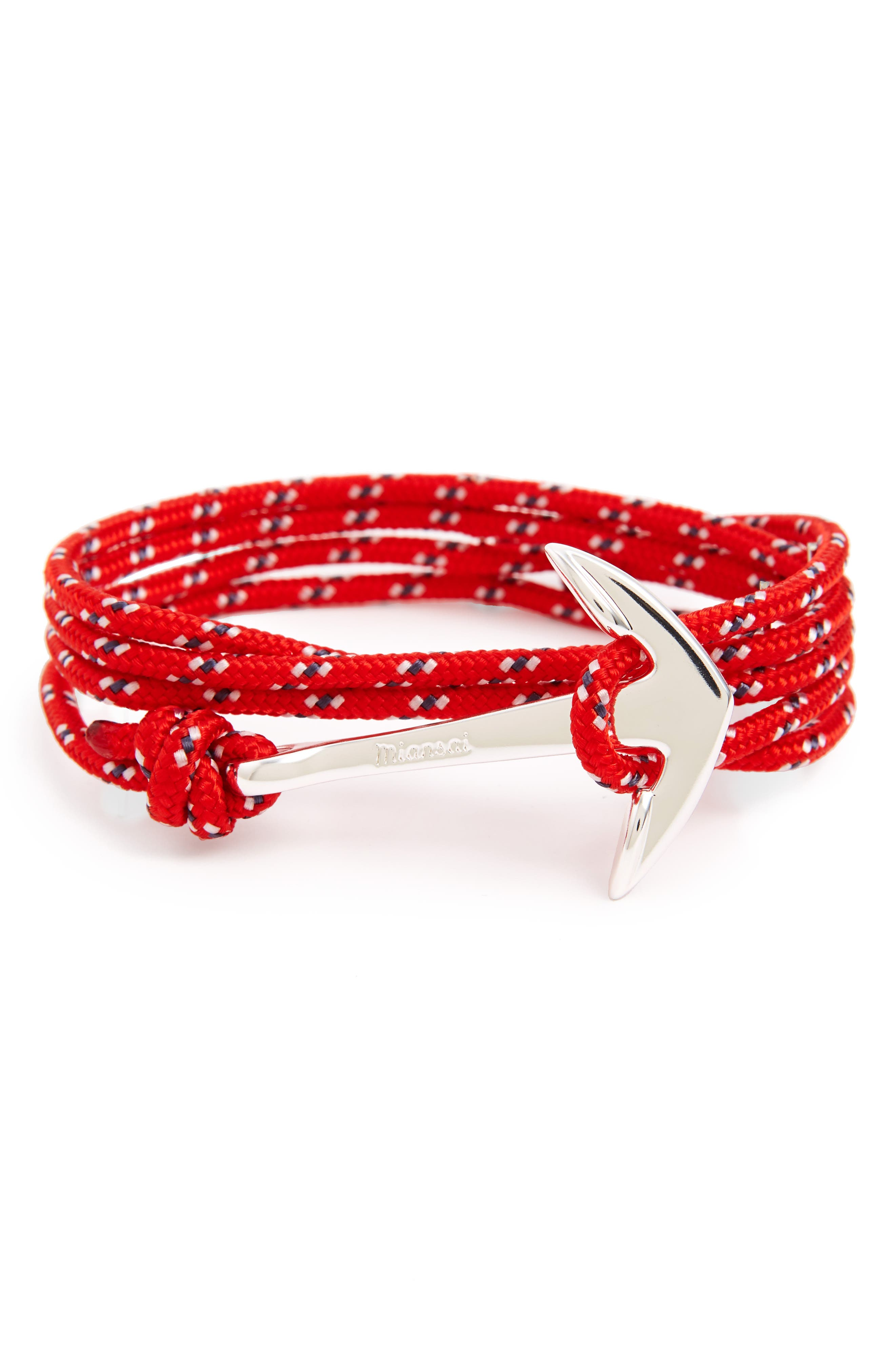 Silver Anchor Rope Wrap Bracelet,                             Main thumbnail 1, color,                             Crimson