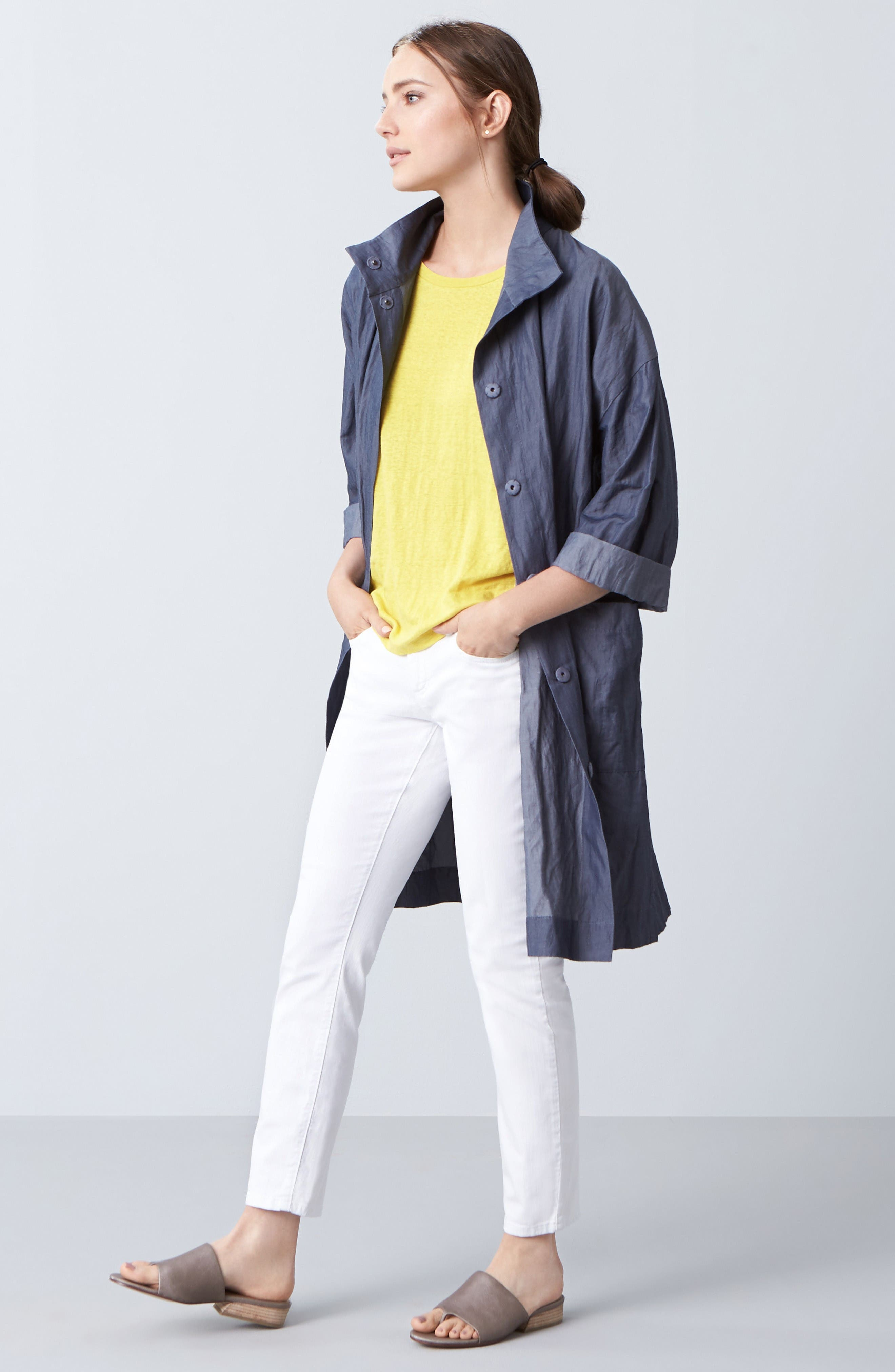 Eileen Fisher Coat, Tee & Skinny Jeans Outfit with Accessories