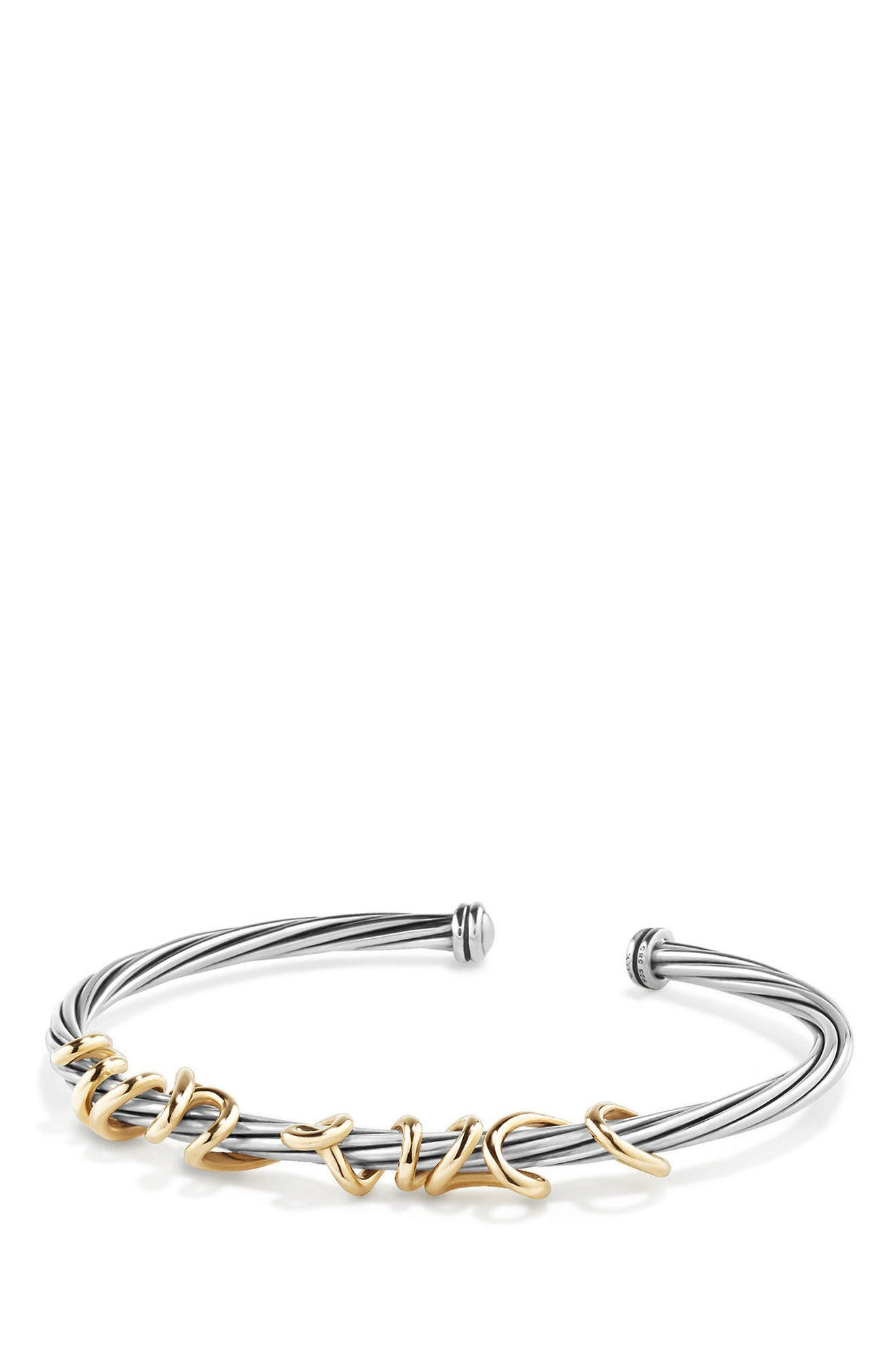 Whispers I Love You Bracelet,                             Main thumbnail 1, color,                             Silver/ Gold