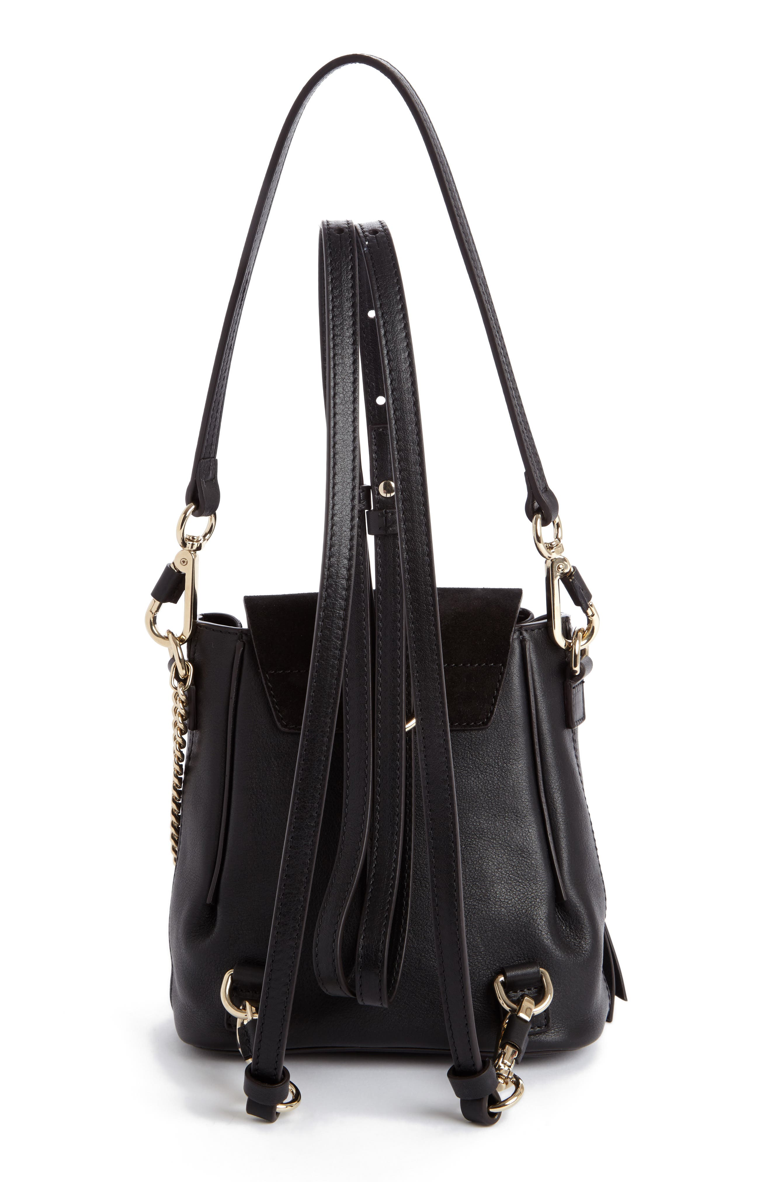 Mini Faye Leather & Suede Backpack,                             Alternate thumbnail 2, color,                             001 Black