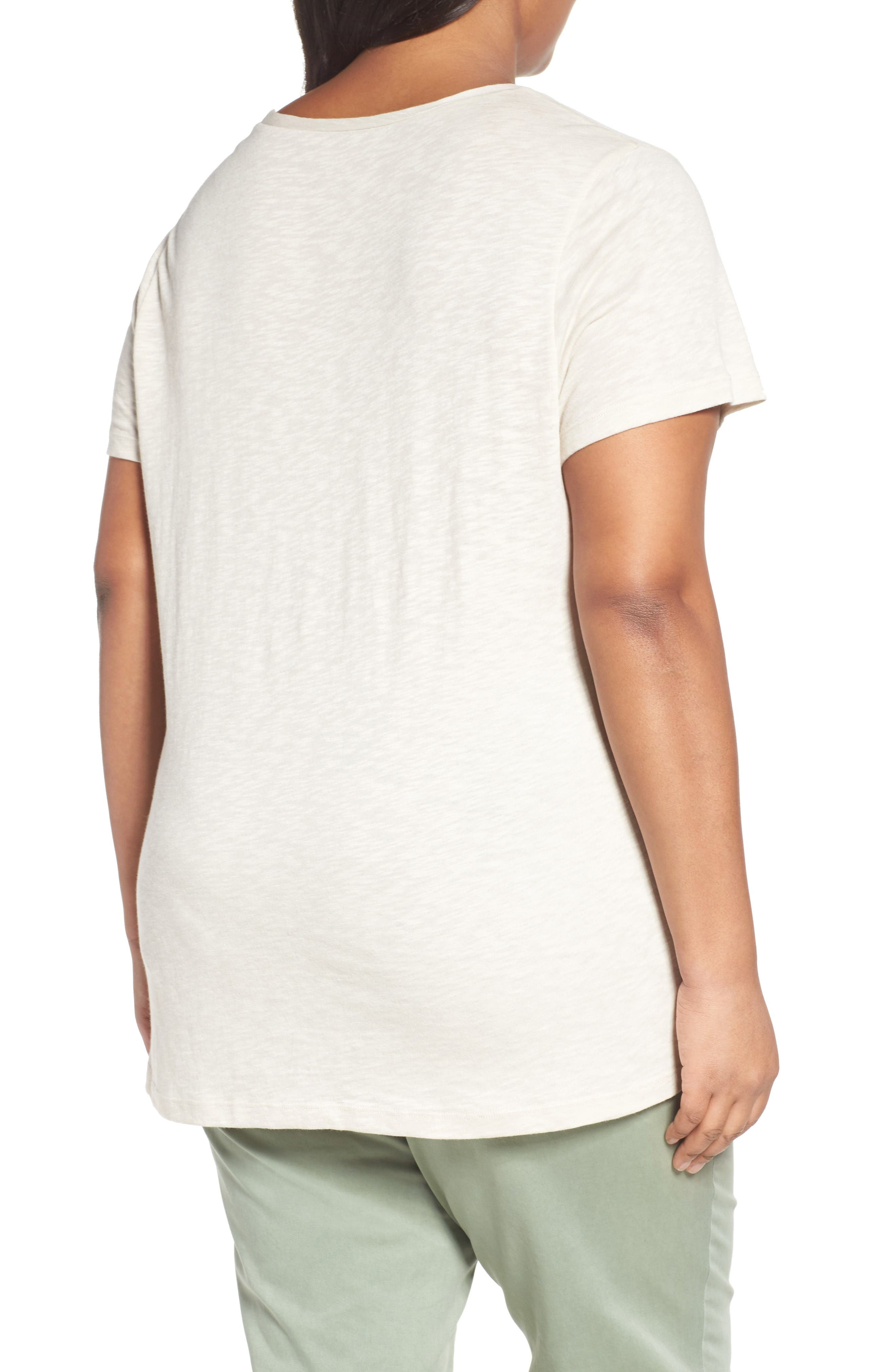 Rounded V-Neck Tee,                             Alternate thumbnail 2, color,                             Beige Rainy Day
