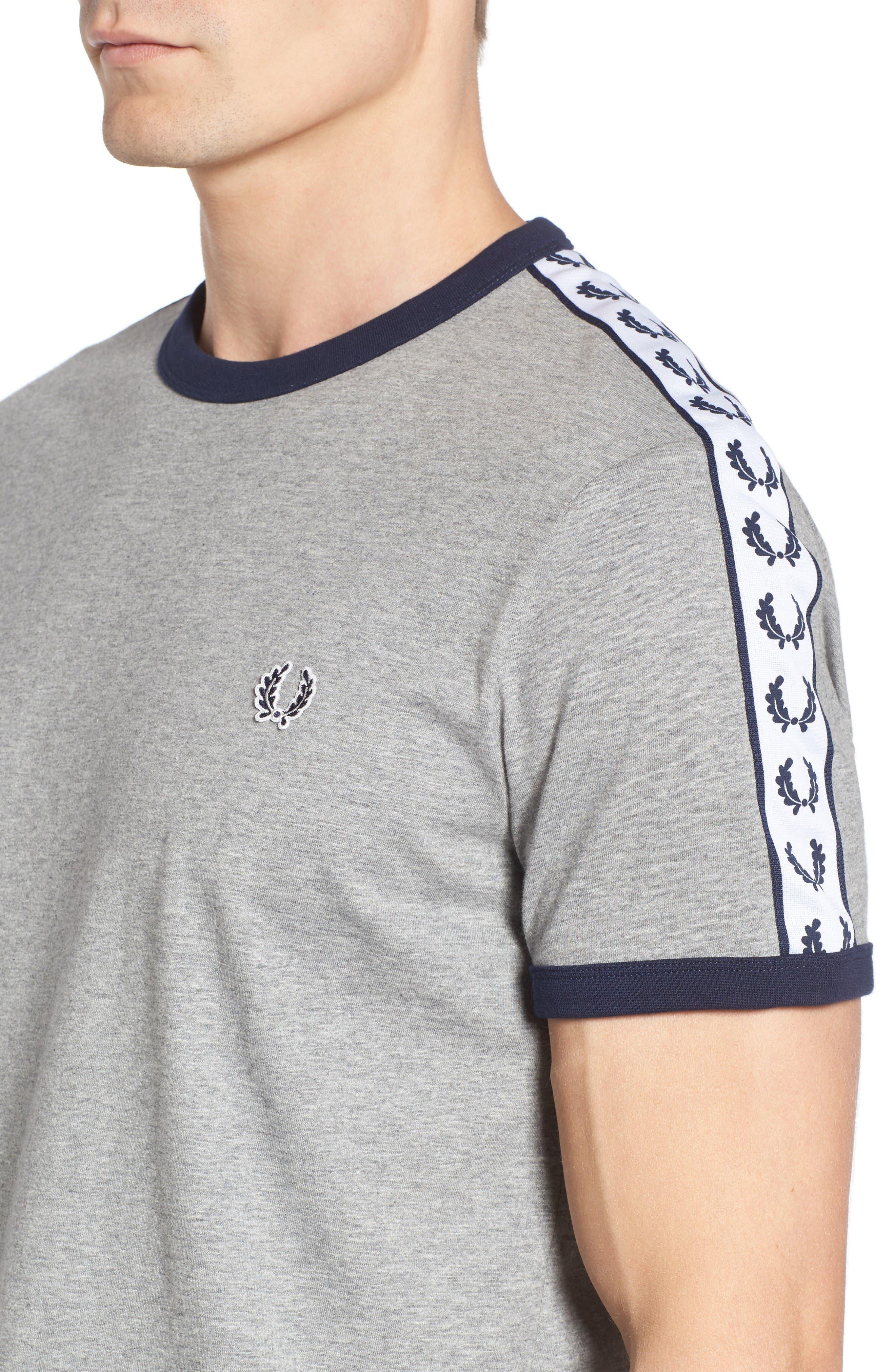 Extra Trim Fit Cotton Ringer T-Shirt,                             Alternate thumbnail 4, color,                             Steel Marl