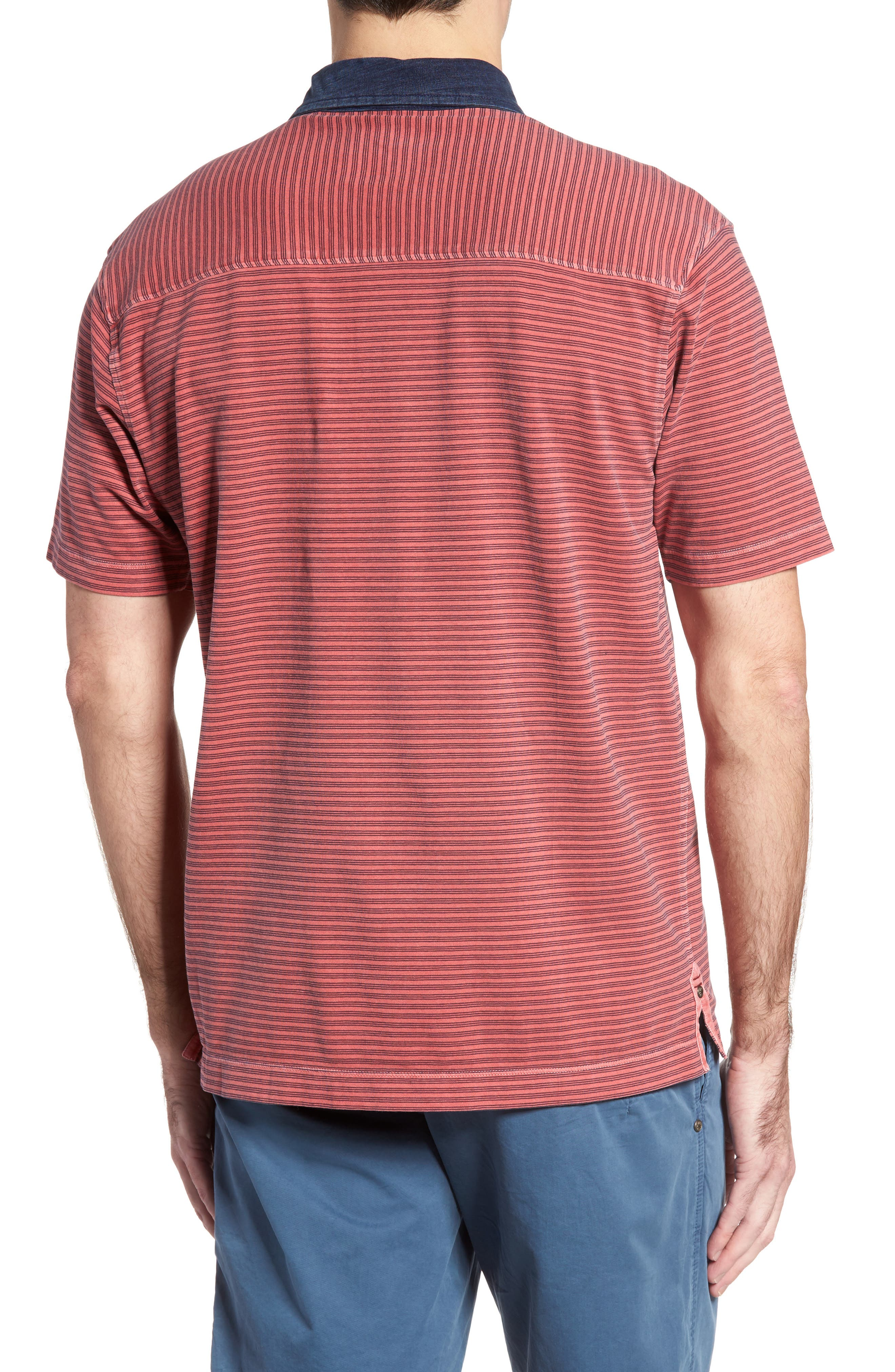 Ivan Stripe Stretch Jersey Polo,                             Alternate thumbnail 2, color,                             True Red