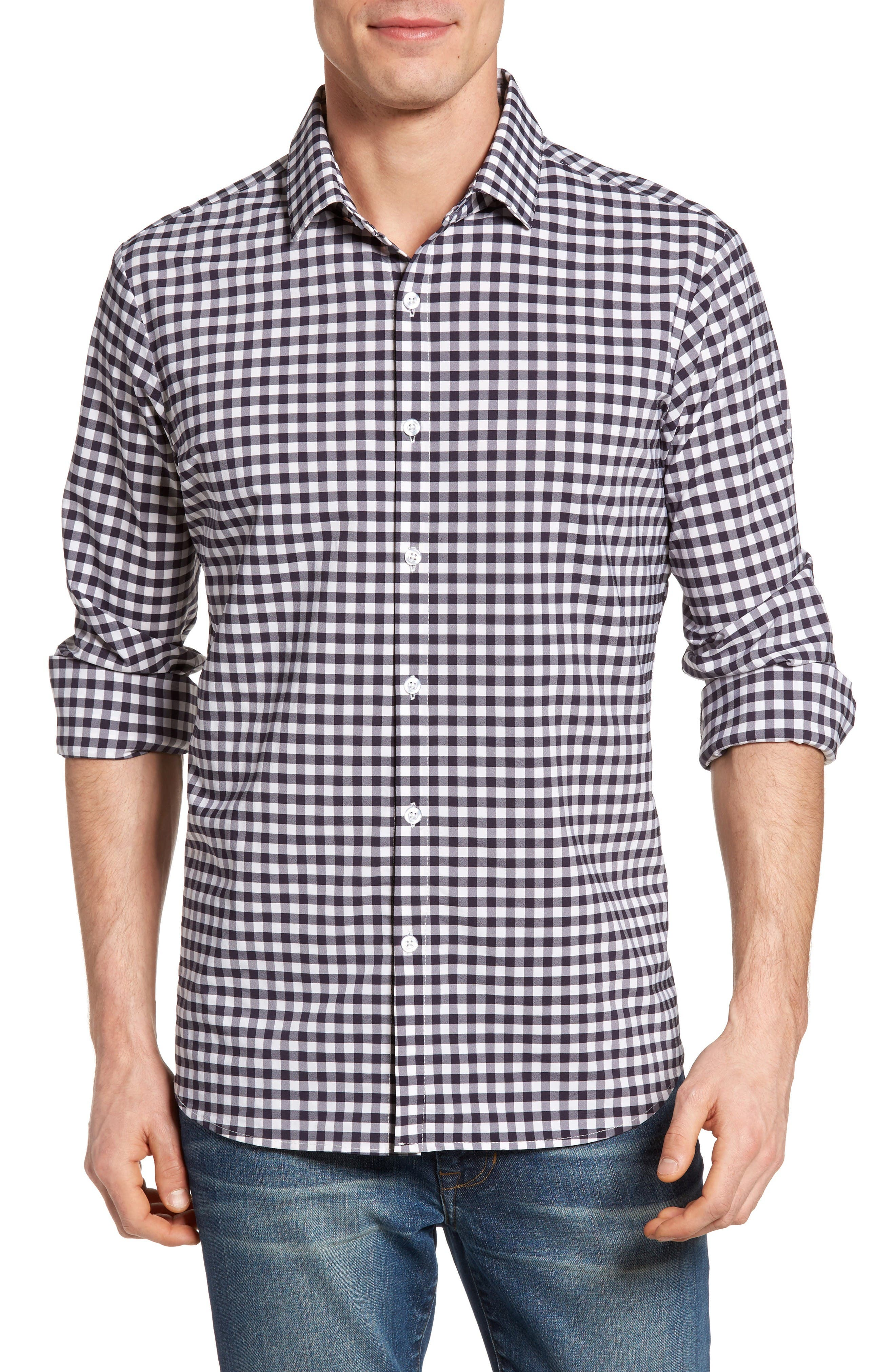 Montauk Slim Fit Gingham Performance Sport Shirt,                         Main,                         color, Navy