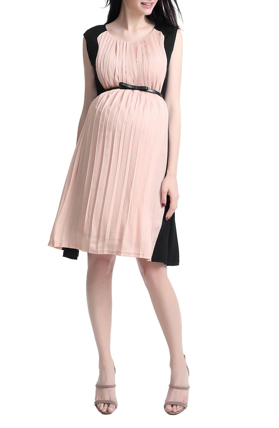 Anita Pleated Maternity/Nursing Dress,                             Main thumbnail 1, color,                             Black/ Blush