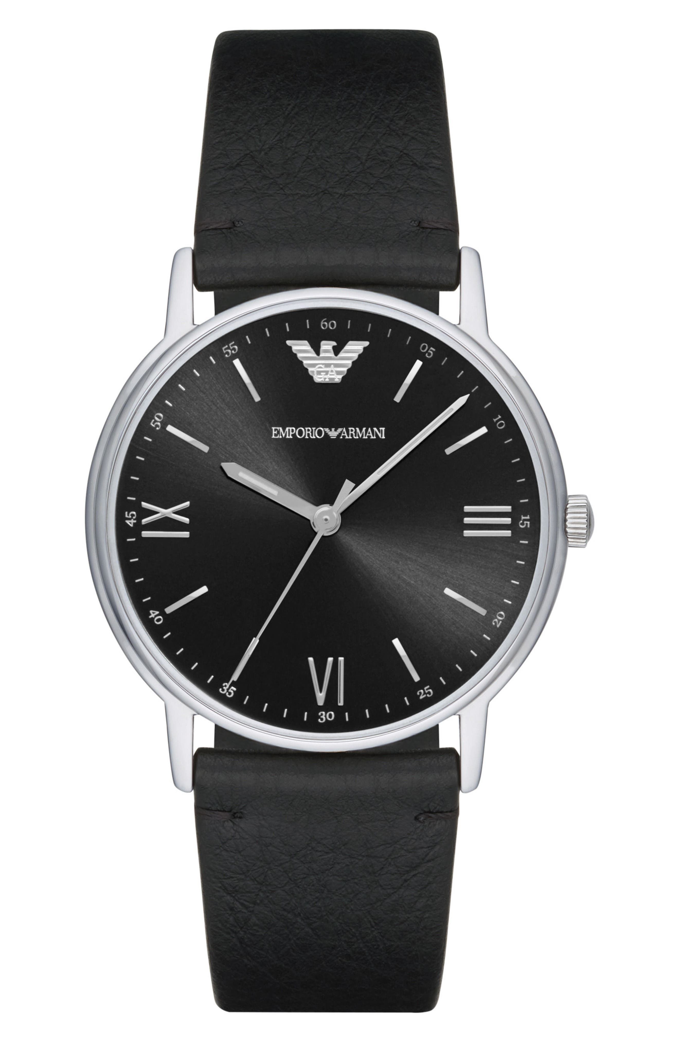 Leather Strap Watch, 41mm,                         Main,                         color, Black/ Black