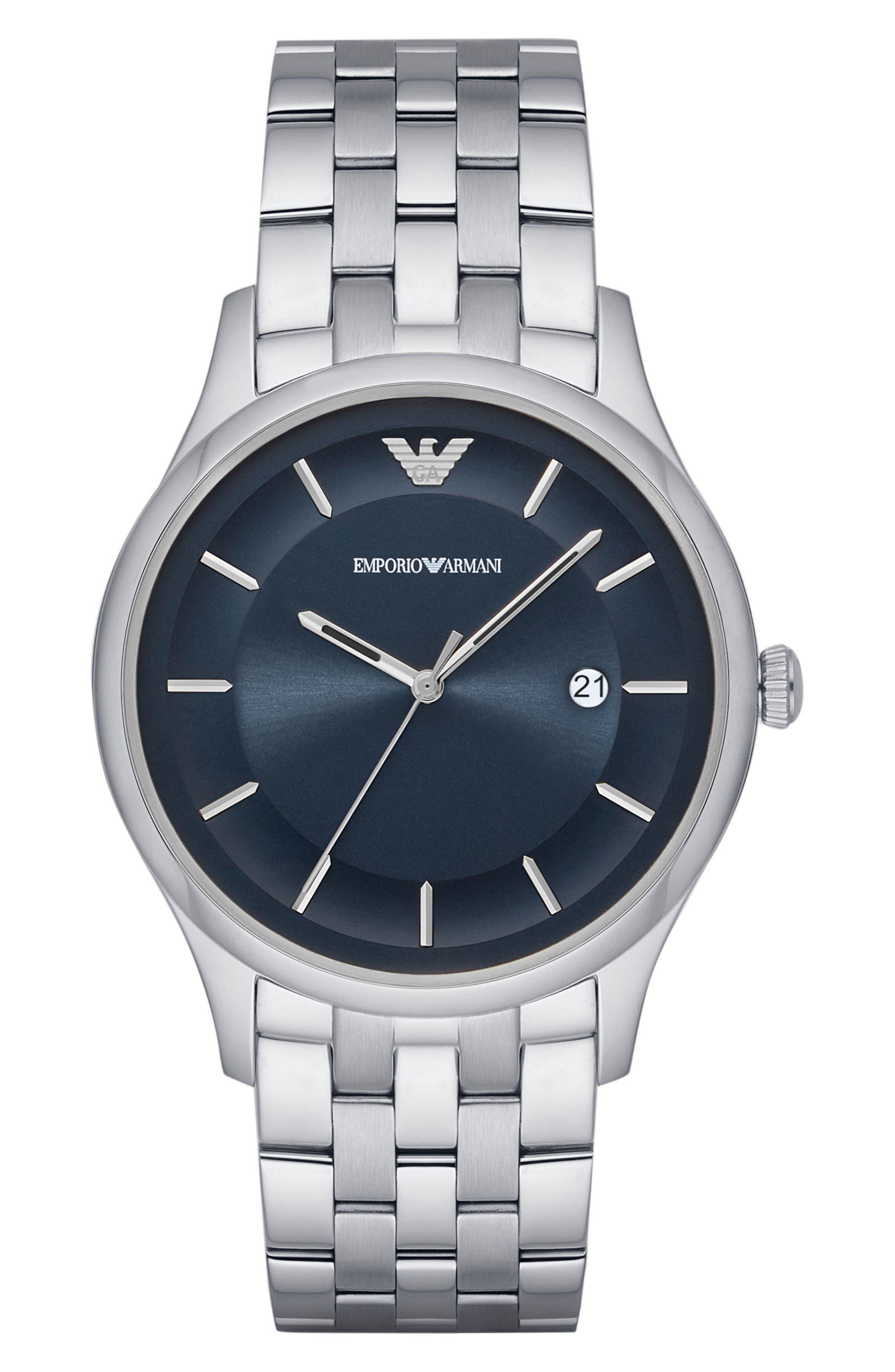 Bracelet Watch, 43mm,                         Main,                         color, Blue/ Silver