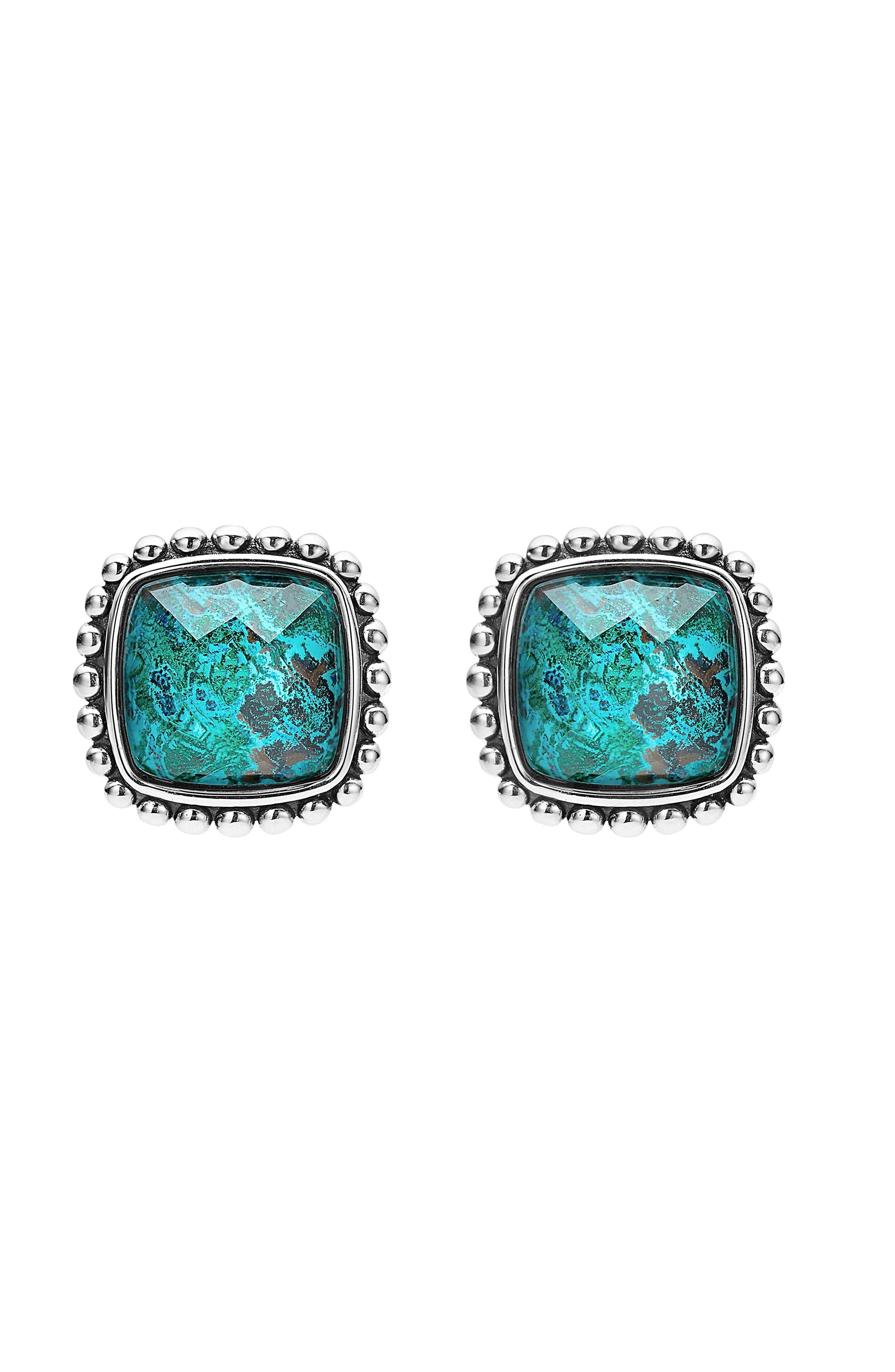 Maya Semiprecious Stone Stud Earrings,                             Alternate thumbnail 2, color,                             Chrysocolla