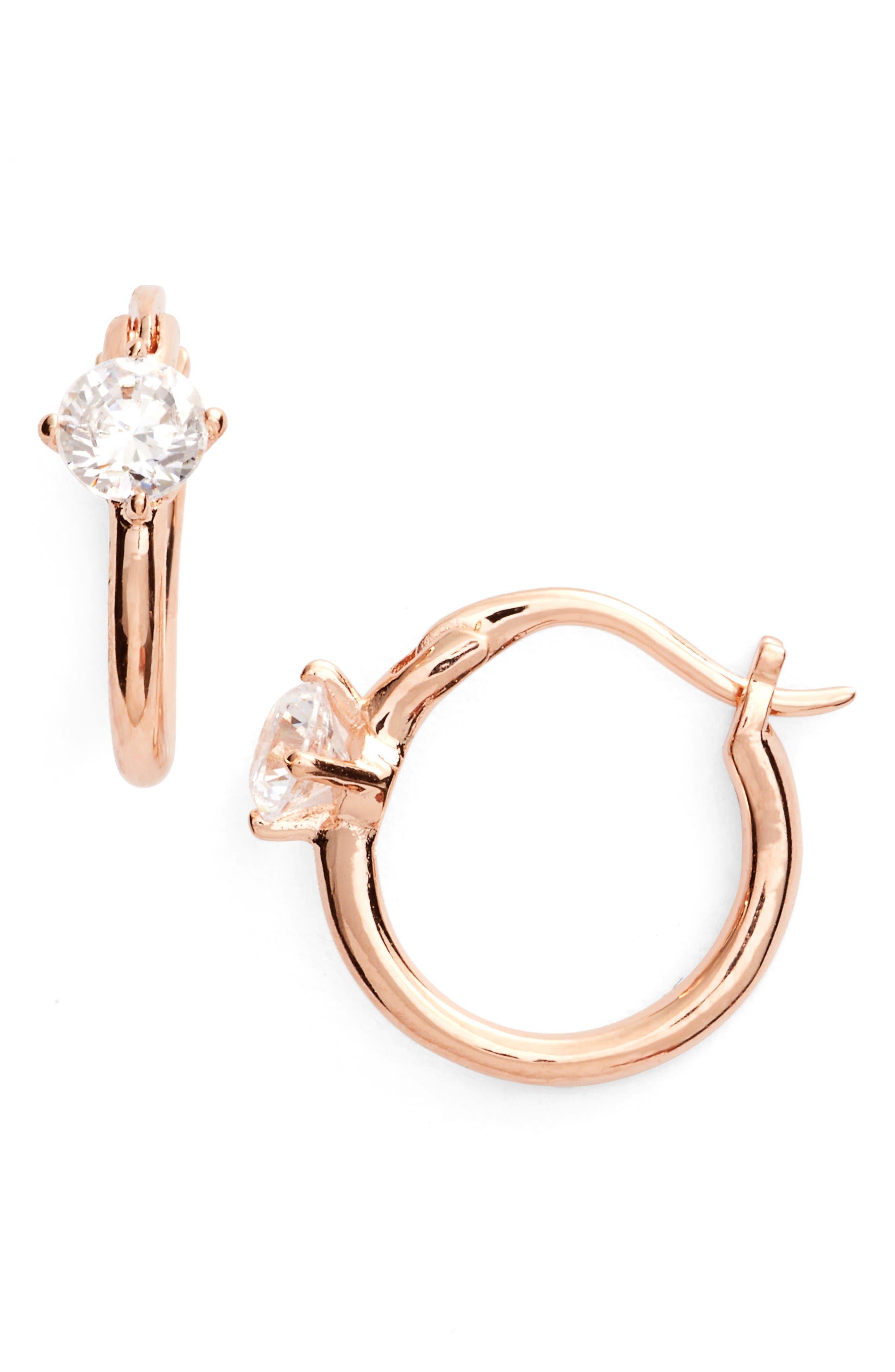Jasmine Small Hoop Earrings,                             Main thumbnail 1, color,                             Rose Gold