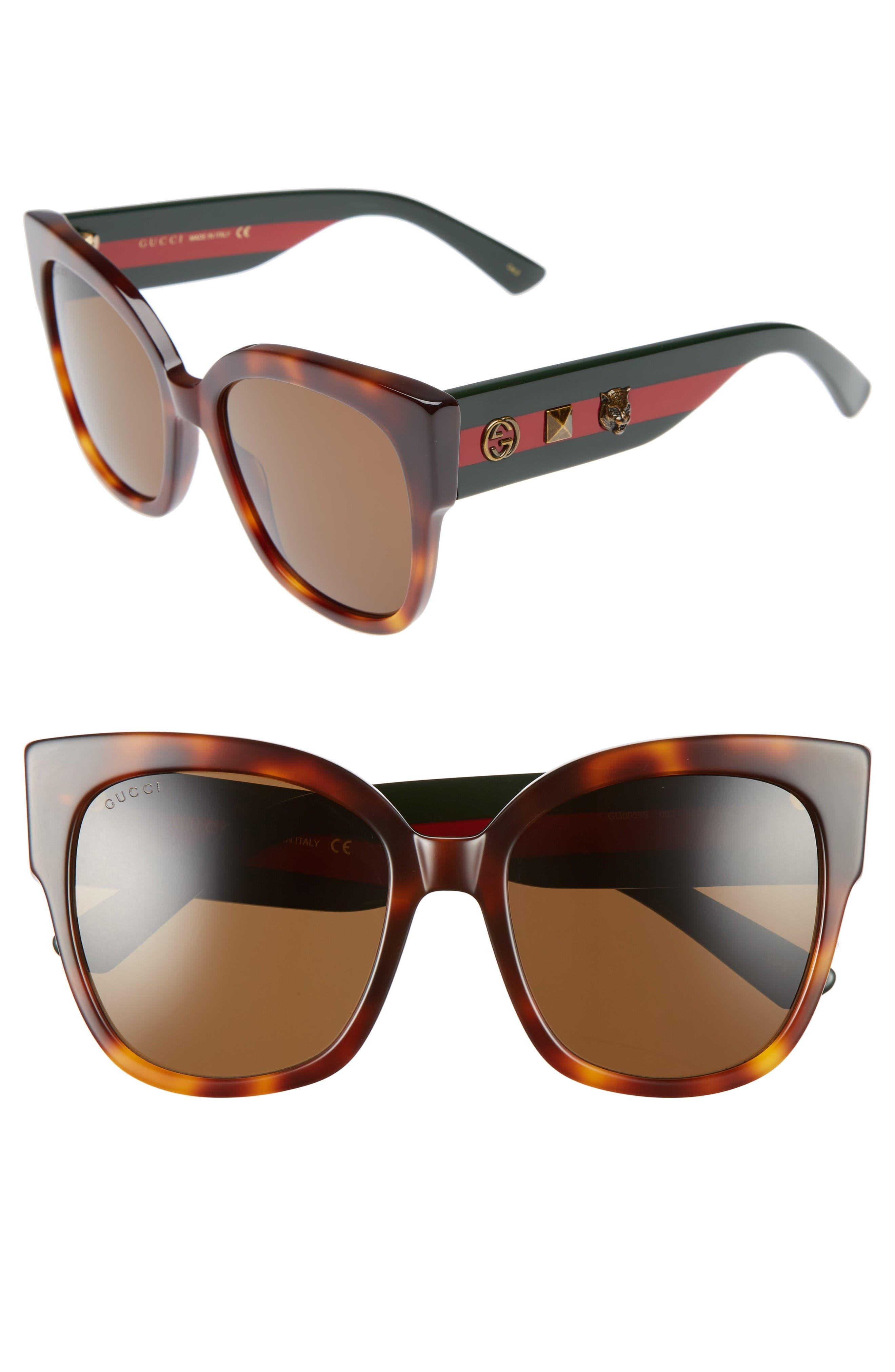Gucci 55mm Butterfly Sunglasses