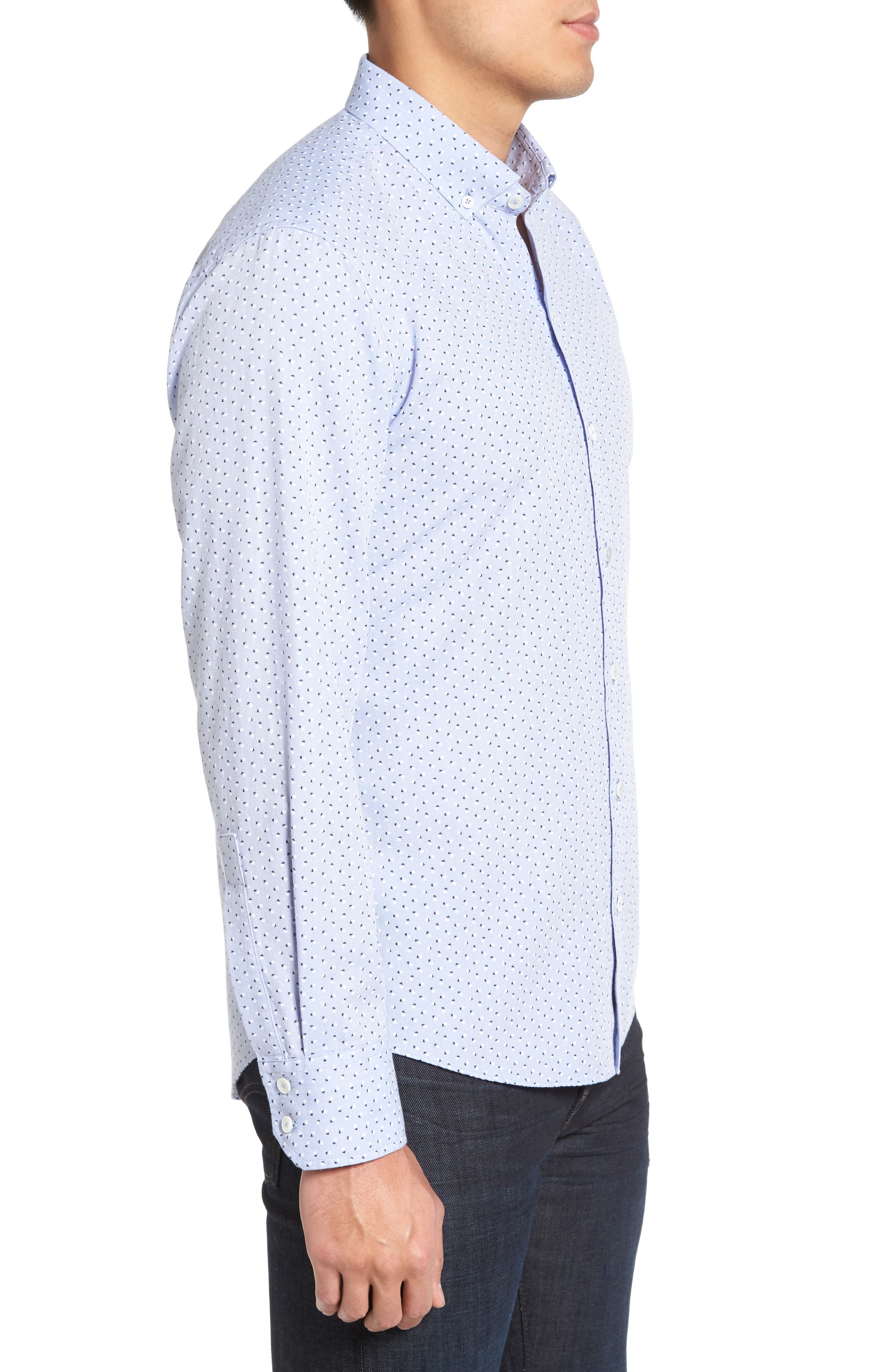 Benedict Print Sport Shirt,                             Alternate thumbnail 3, color,                             Pale Blue
