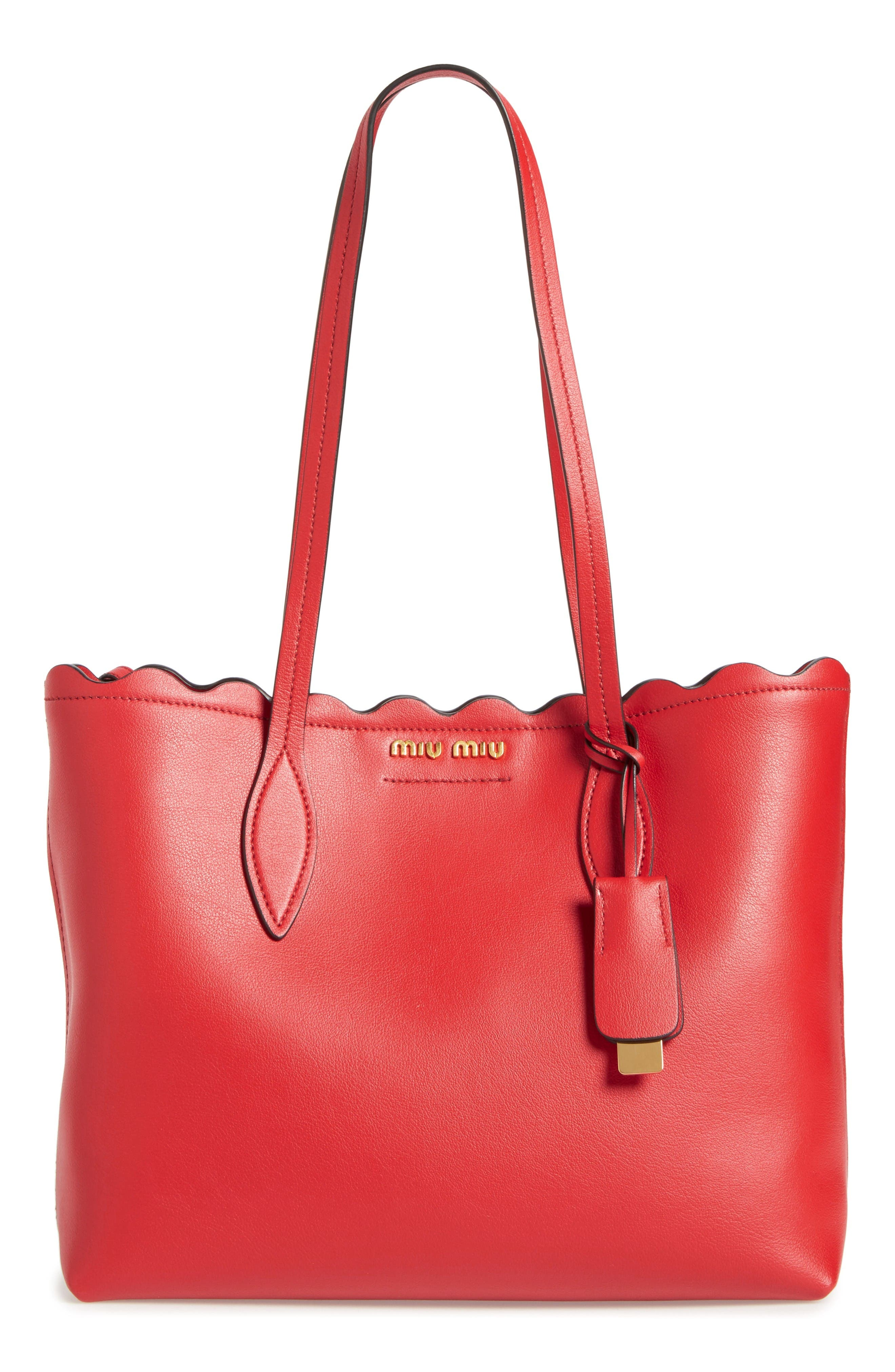 MIU MIU Small Wave Calfskin Leather Shopper