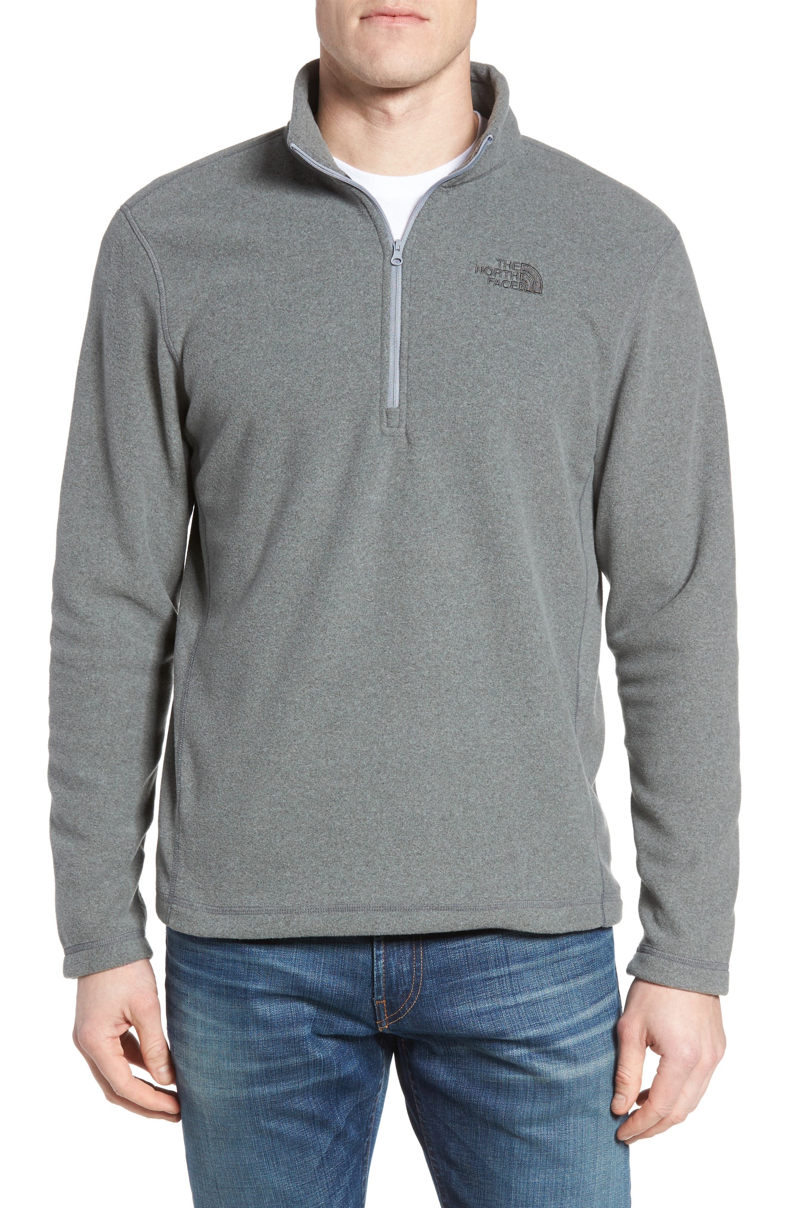 'TKA 100 Glacier' Quarter Zip Fleece Pullover,                         Main,                         color, Tnf Medium Grey Heather